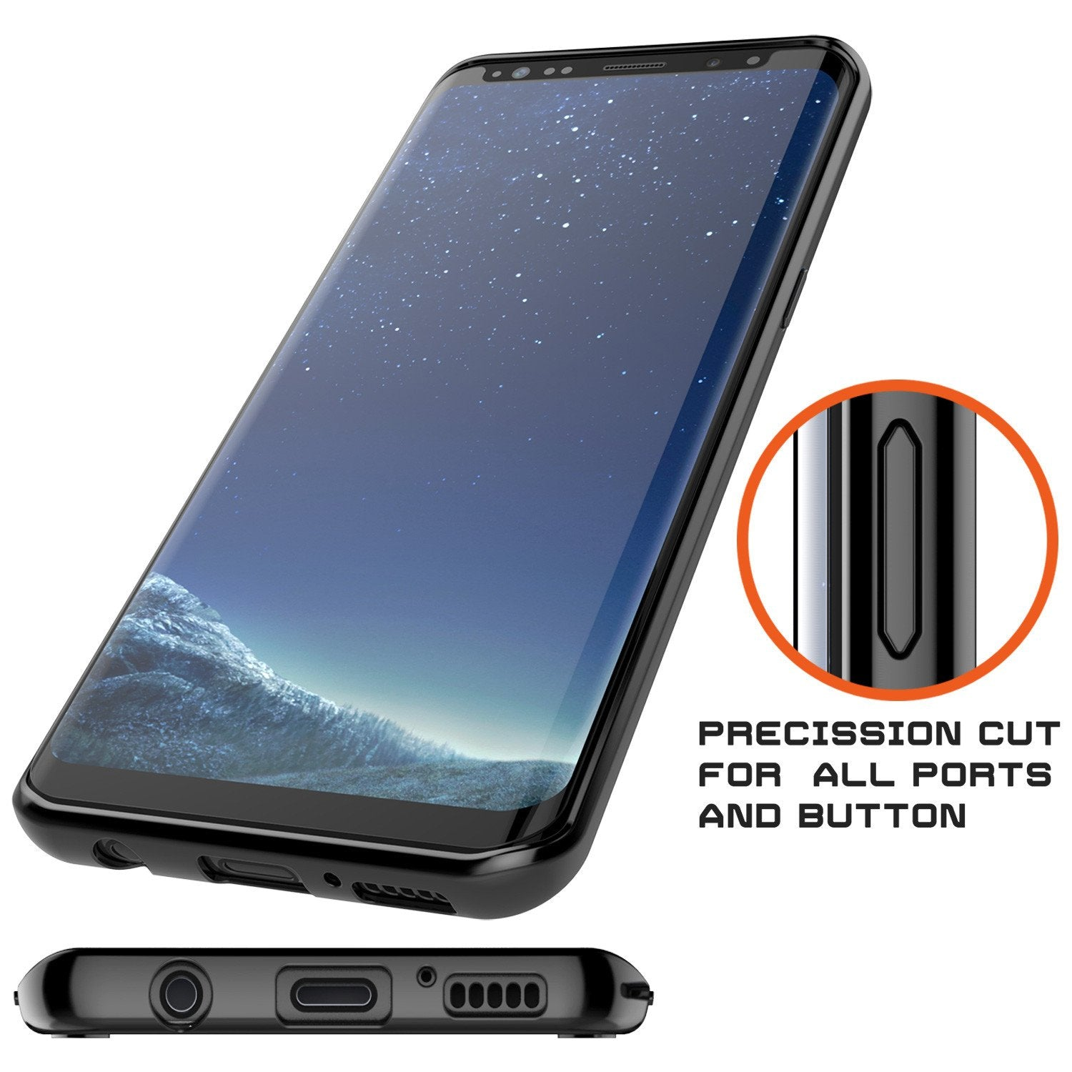 Galaxy S8 Plus Punkcase LUCID 2.0 Series Clear Back Case [Black]