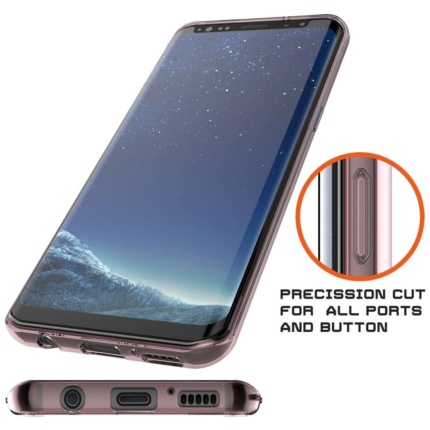 Galaxy S8 Plus Punkcase LUCID 2.0 Series Clear Back Case, CRYSTAL PINK
