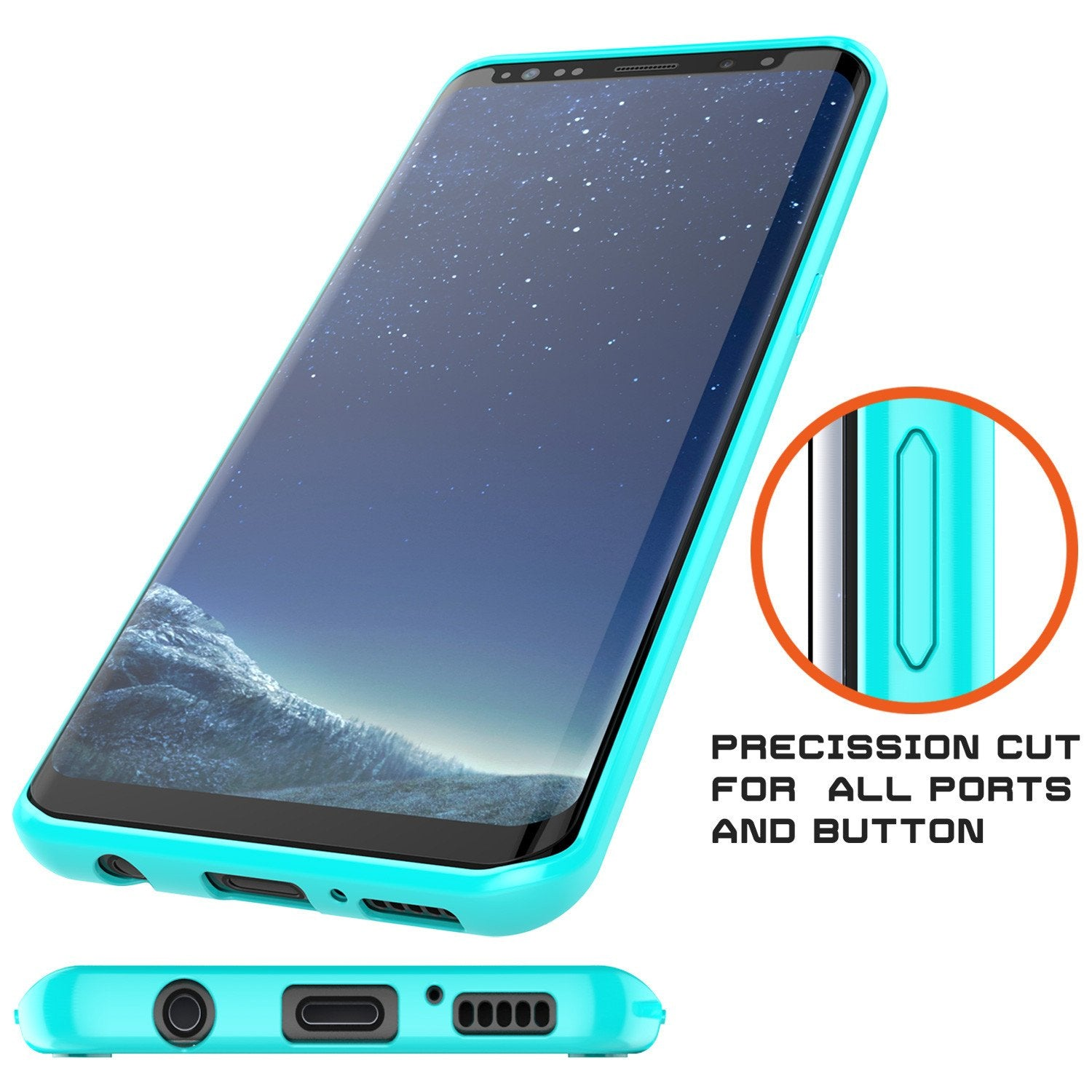 Galaxy S8 Plus Punkcase LUCID 2.0 Series Clear Back Case [Teal]