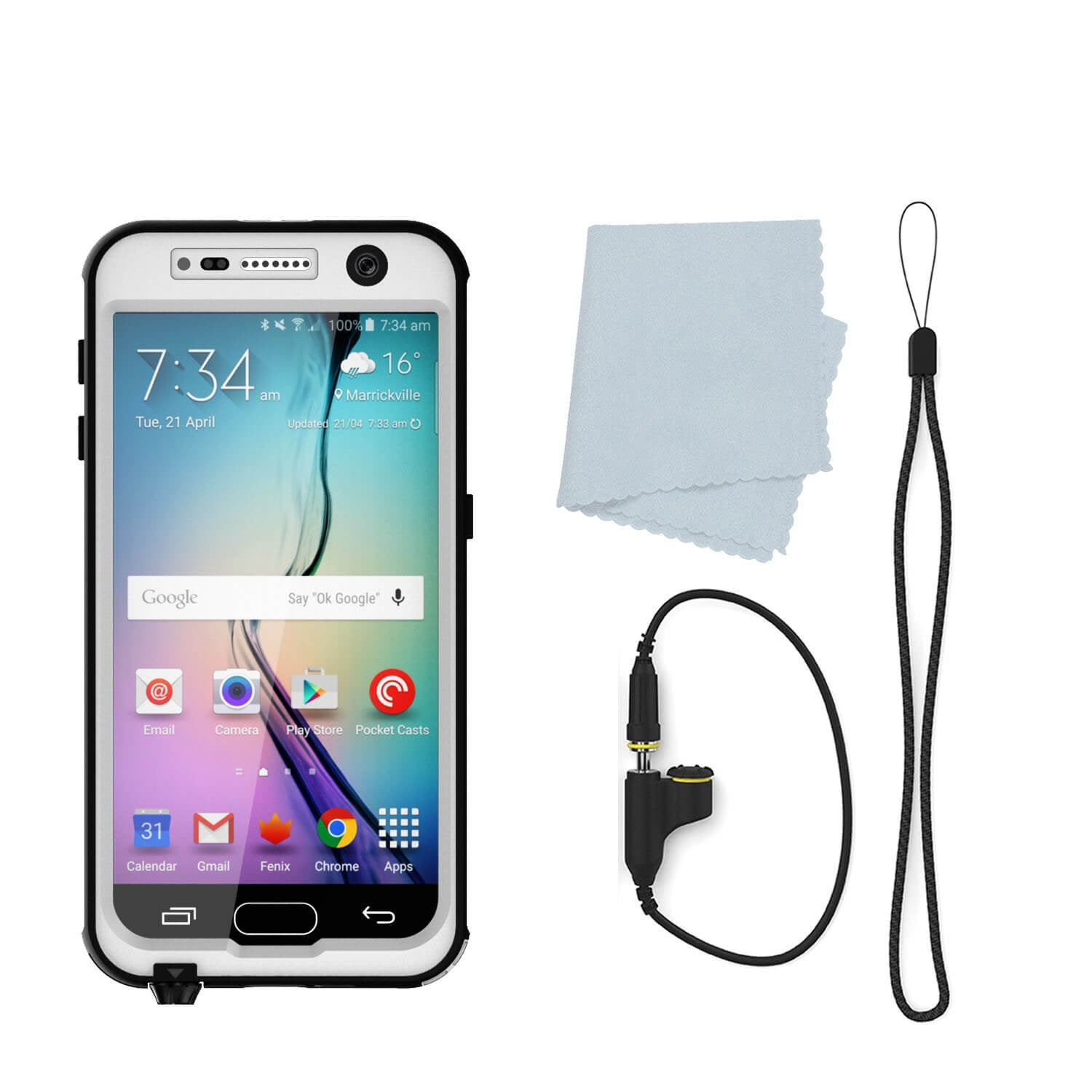 Galaxy S7 Waterproof Case, Punkcase StudStar White Thin 6.6ft Underwater IP68 Shock/Dirt/Snow Proof