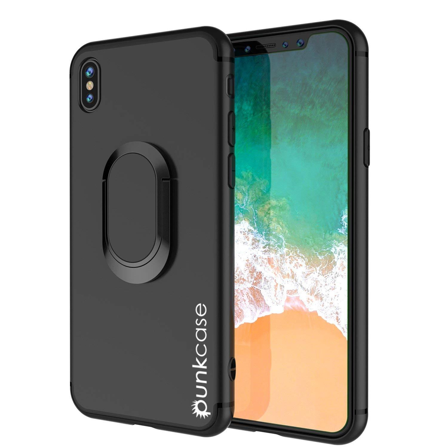 iPhone XR Case, Punkcase Magnetix Protective TPU Cover W/ Kickstand, Tempered Glass Screen Protector [Black]