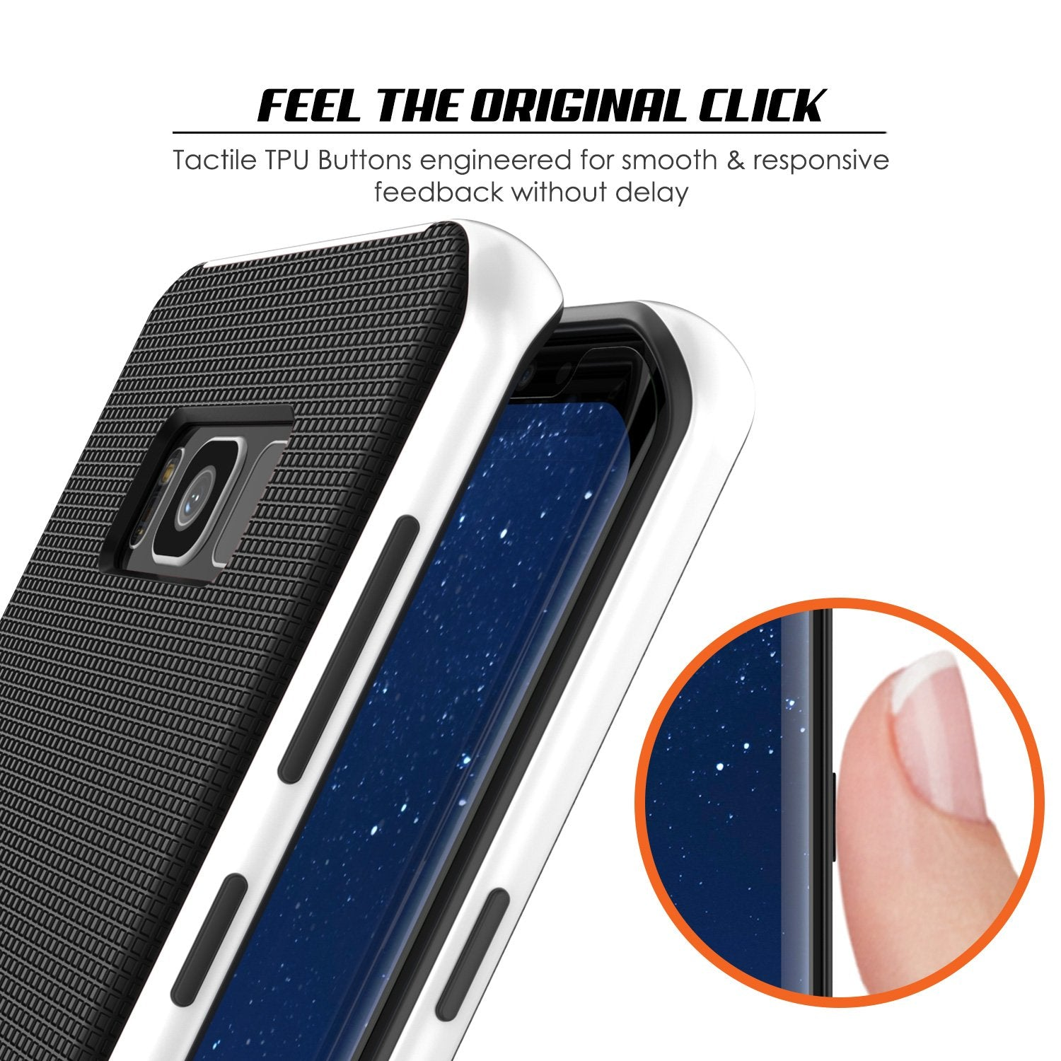 Galaxy S8 Case, PunkCase [Stealth Series] Hybrid 3-Piece Shockproof Dual Layer Cover [White]