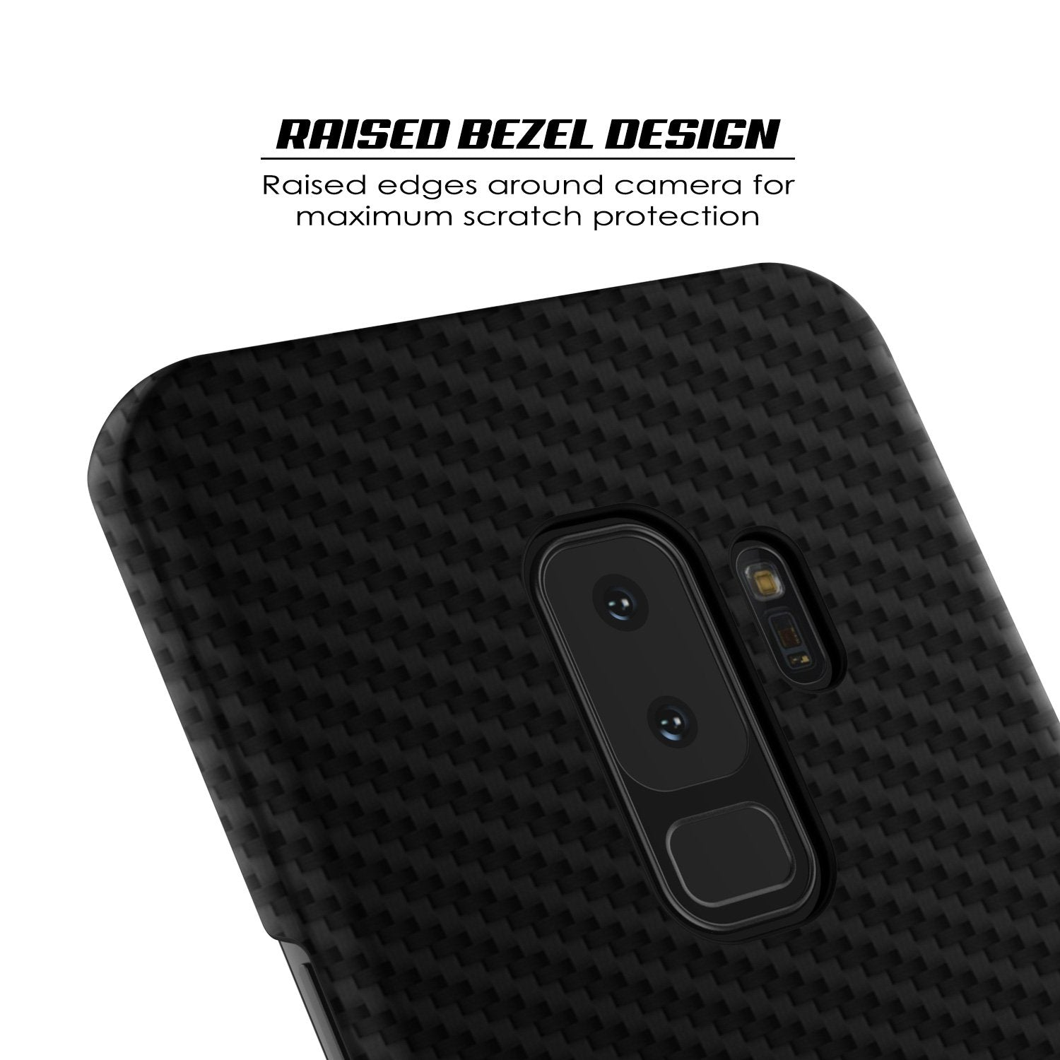 Galaxy S9 Plus Case, Punkcase Carbon Shield Ultra Thin Jet Black Cover