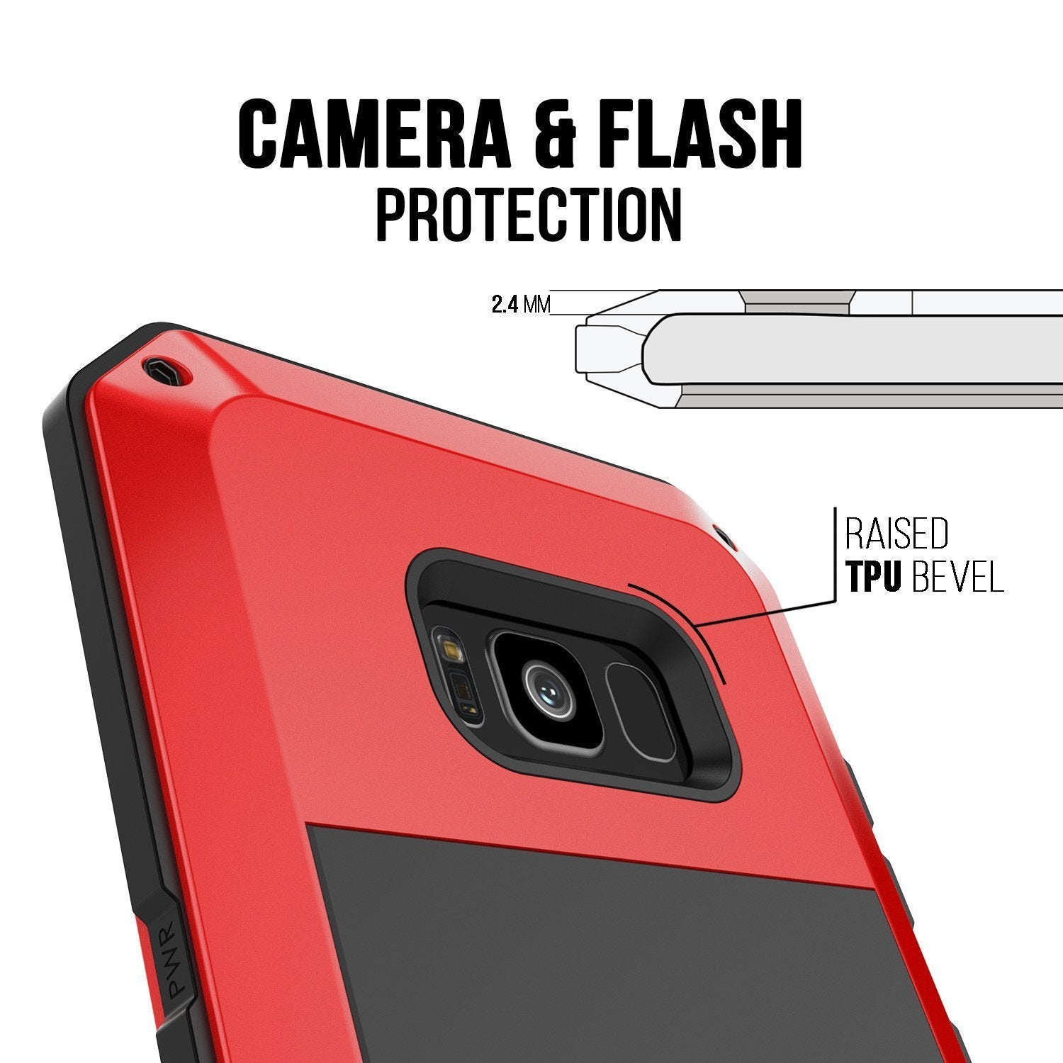 Galaxy Note 8  Case, Punkcase Metallic Red W/ Tempered Glass Screen