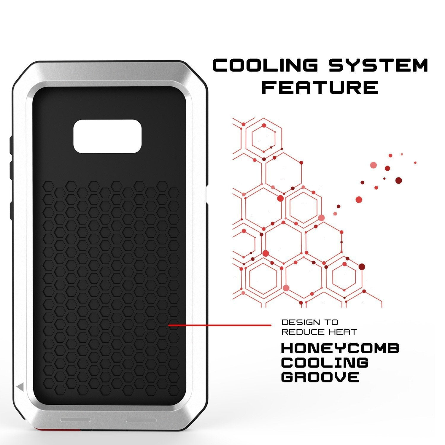 Galaxy Note 8  Case, Punkcase Metallic White W/ Tempered Glass Screen