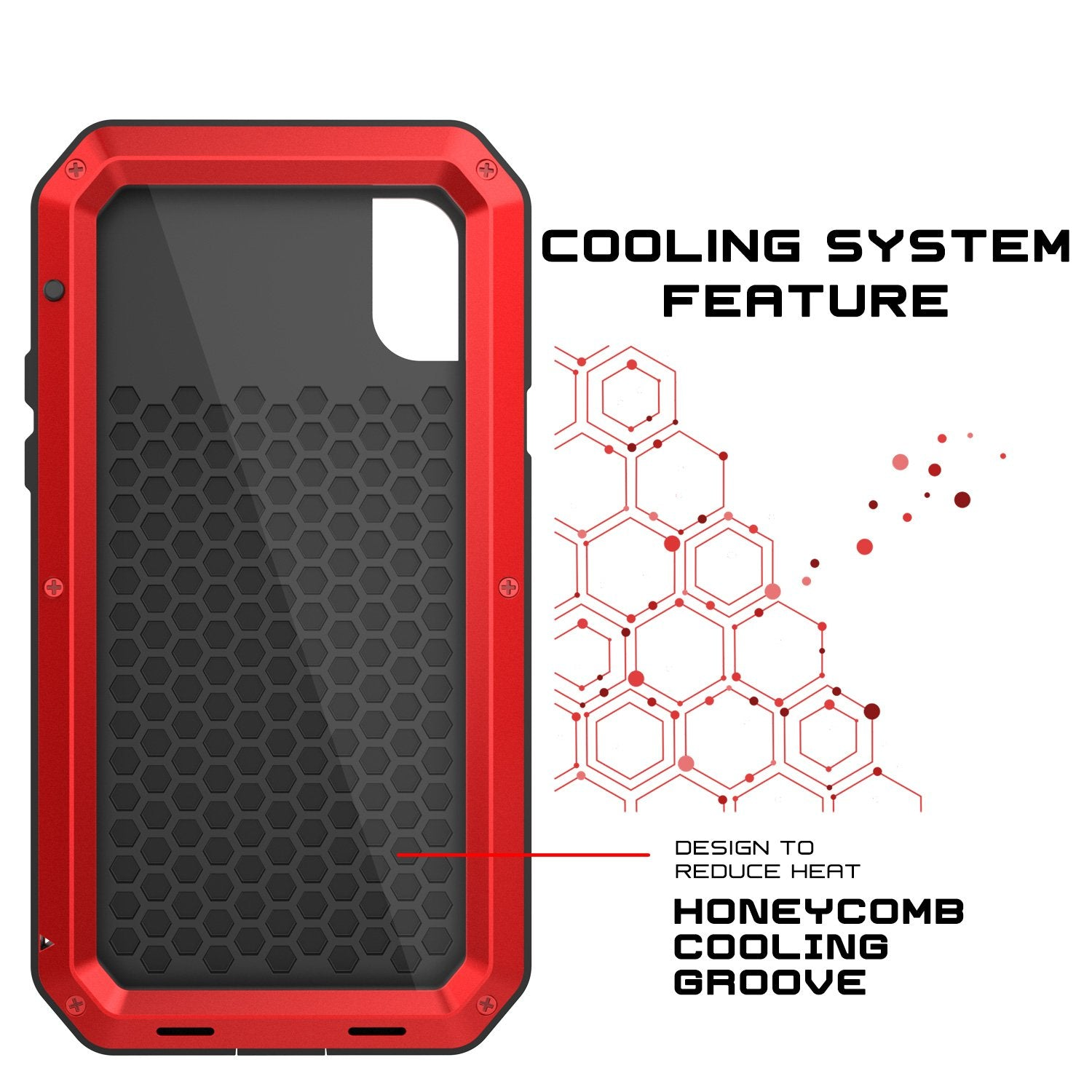 iPhone X Metal Case, Heavy Duty Military Grade Rugged Armor Case, Red