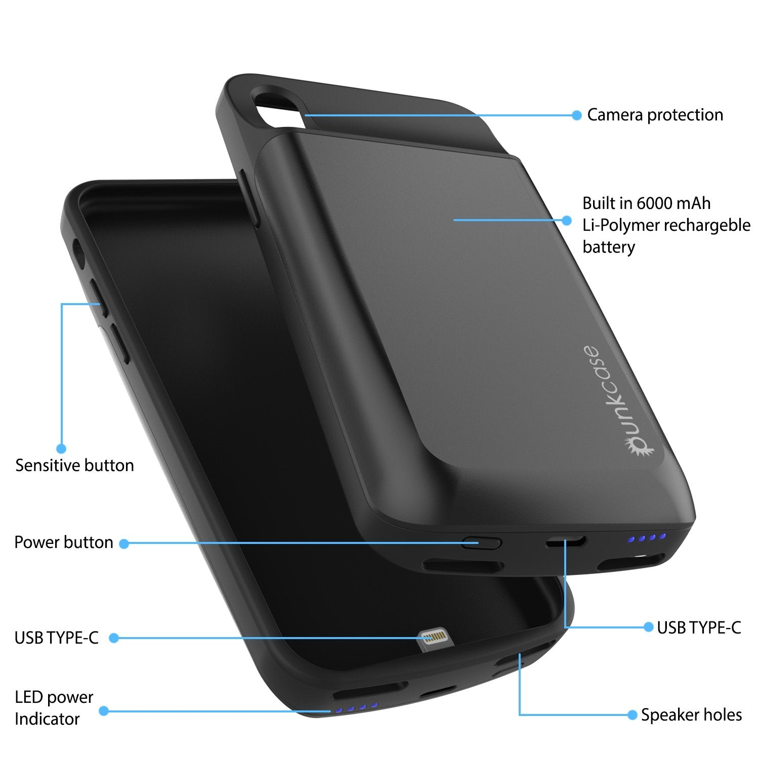 iPhone X Battery Case, PunkJuice Fast Charging Power Bank [Black]