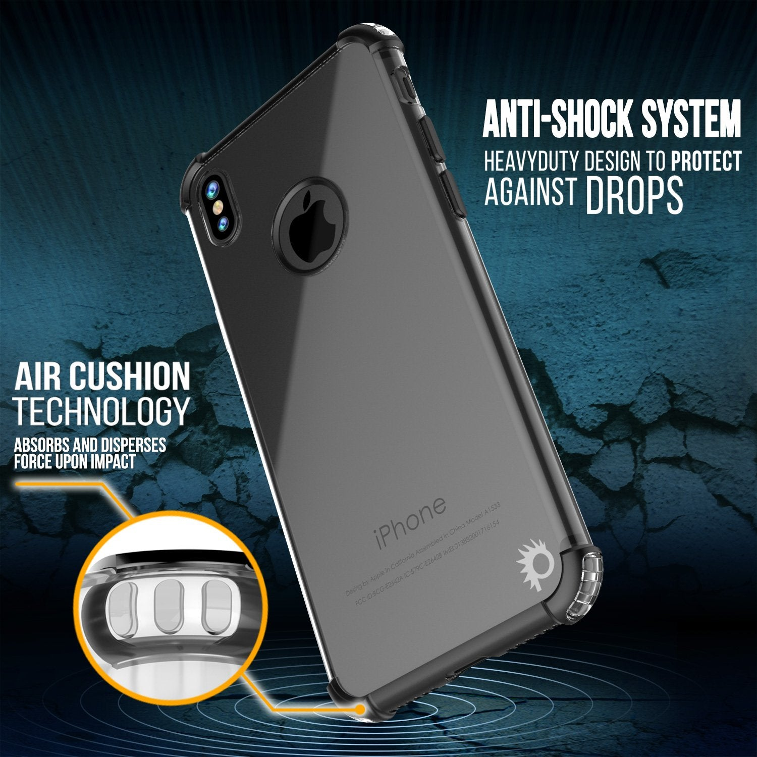 iPhone X Punkcase [BLAZE SERIES] Cover W/ Screen Protector [black]