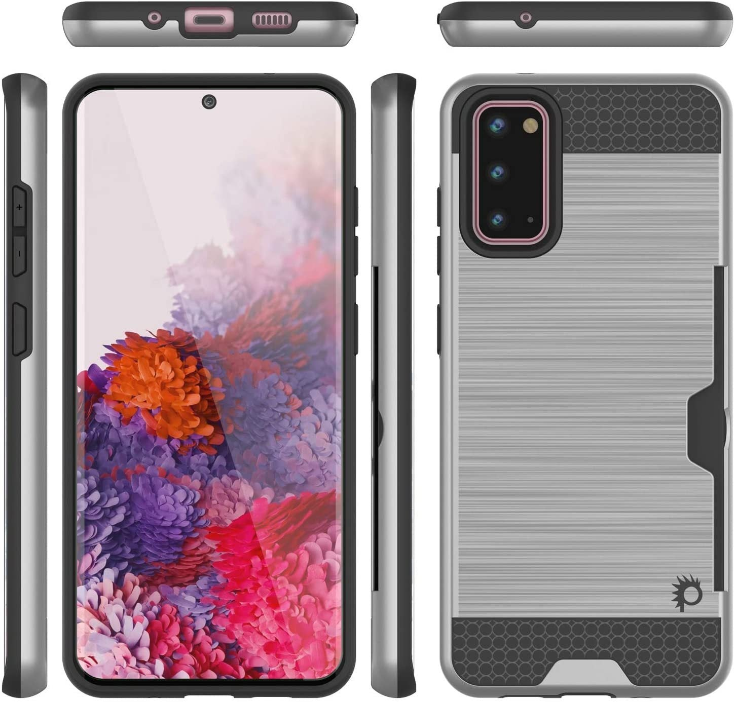 Galaxy S20 Case, PUNKcase [SLOT Series] [Slim Fit] Dual-Layer Armor Cover w/Integrated Anti-Shock System, Credit Card Slot [Silver]