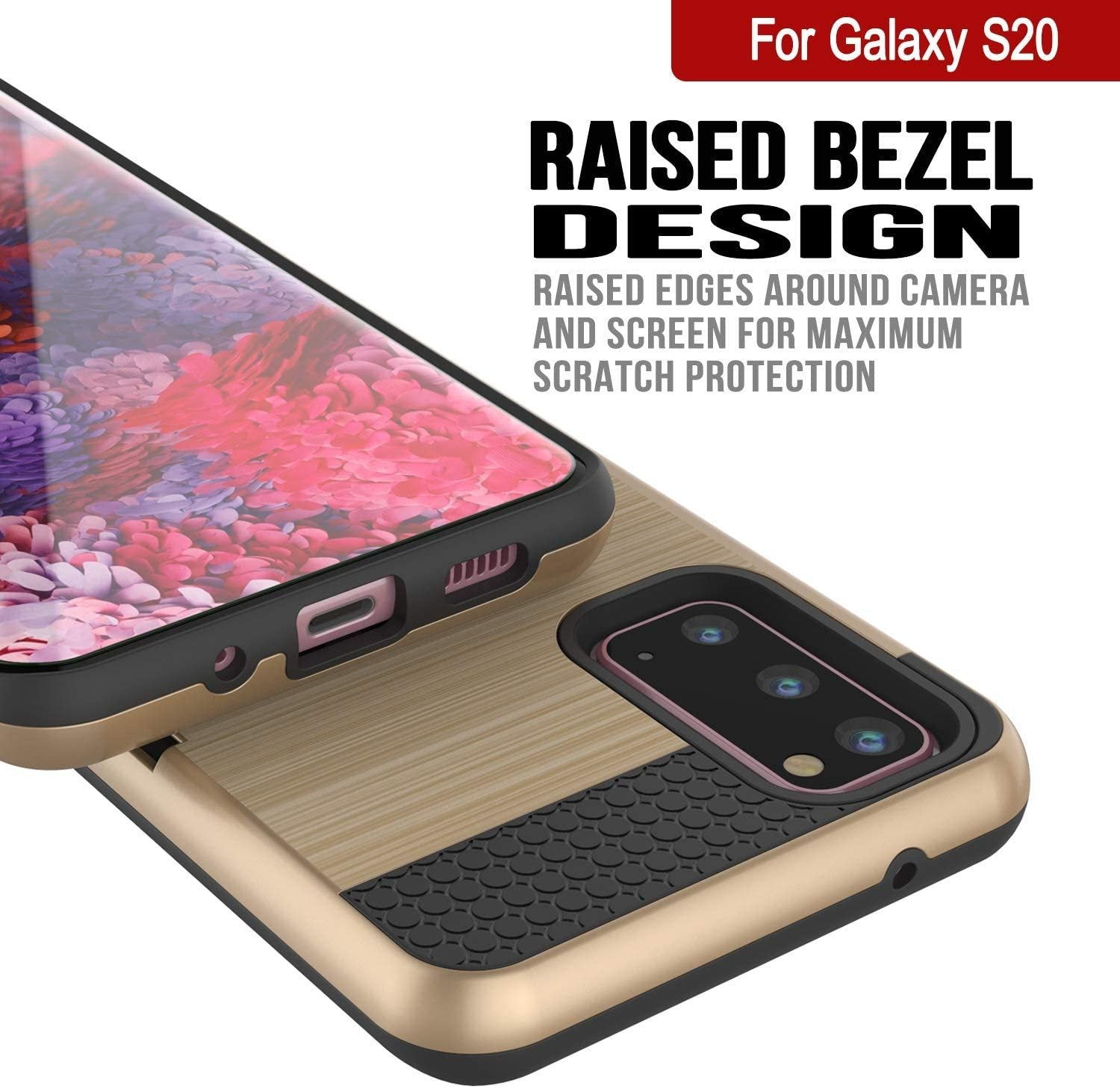 Galaxy S20 Case, PUNKcase [SLOT Series] [Slim Fit] Dual-Layer Armor Cover w/Integrated Anti-Shock System, Credit Card Slot [Gold]