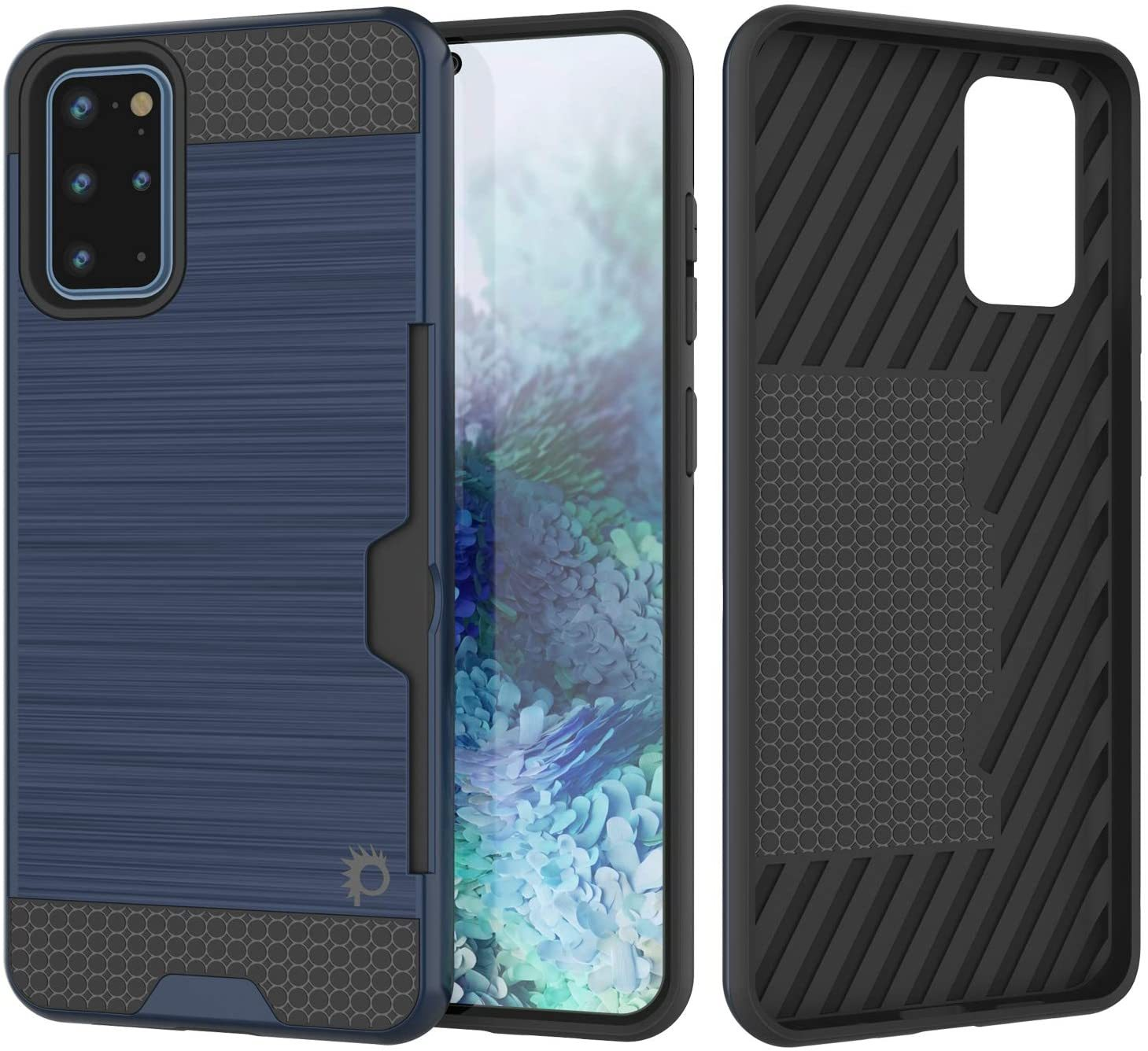 Galaxy S20+ Plus  Case, PUNKcase [SLOT Series] [Slim Fit] Dual-Layer Armor Cover w/Integrated Anti-Shock System, Credit Card Slot [Navy]