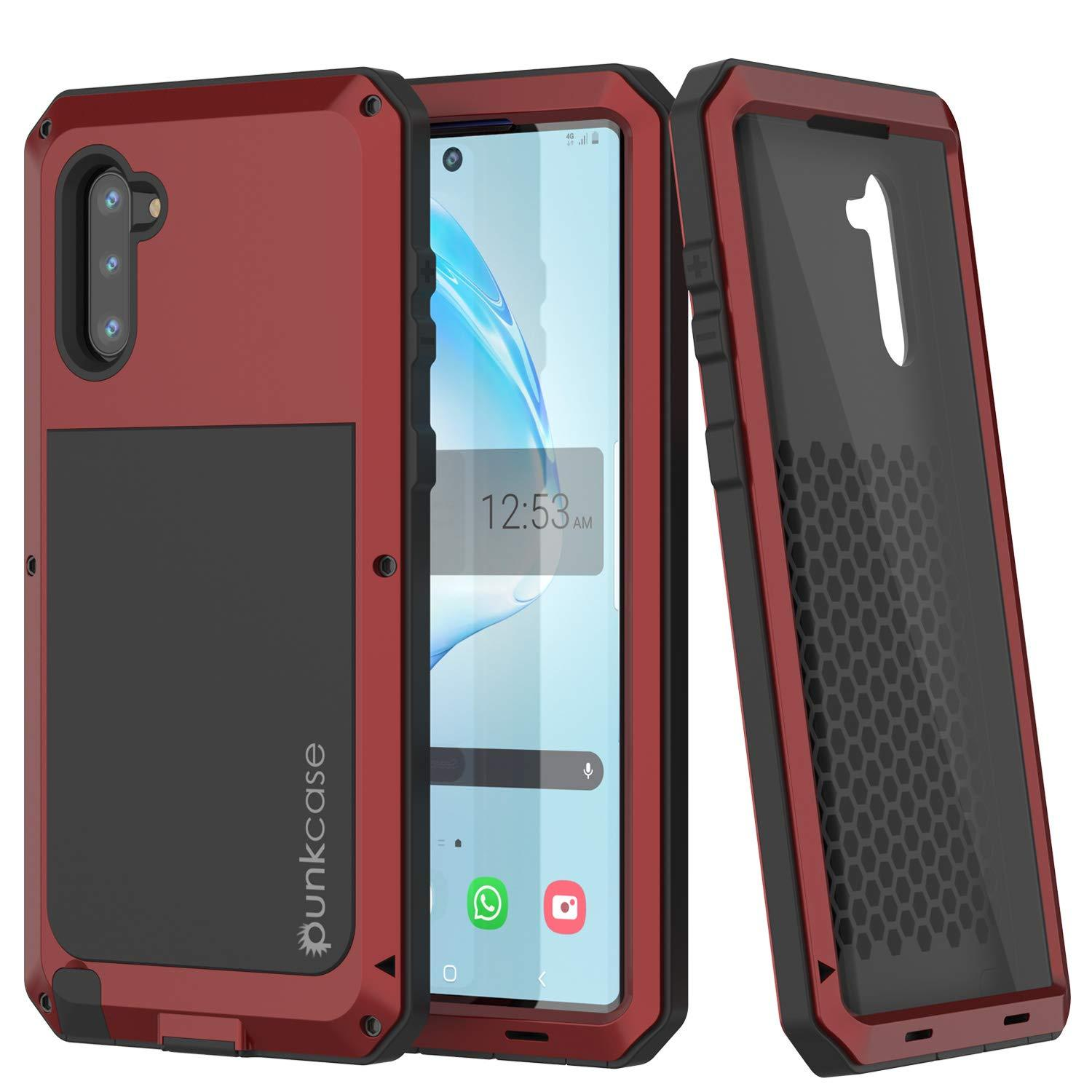 Galaxy Note 10  Case, PUNKcase Metallic Red Shockproof  Slim Metal Armor Case [Red]
