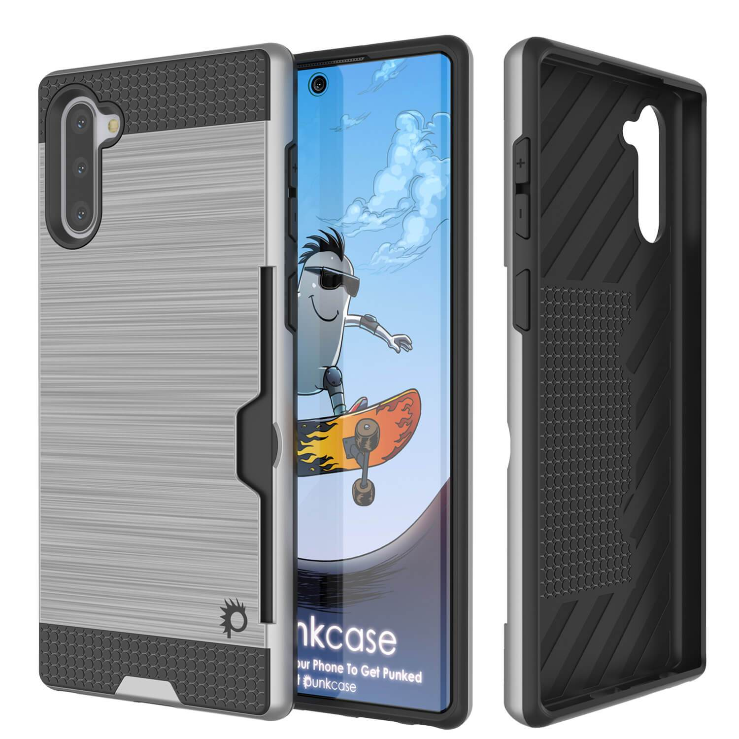 Galaxy Note 10 Case, PUNKcase [SLOT Series] Slim Fit  Samsung Note 10 [Silver]