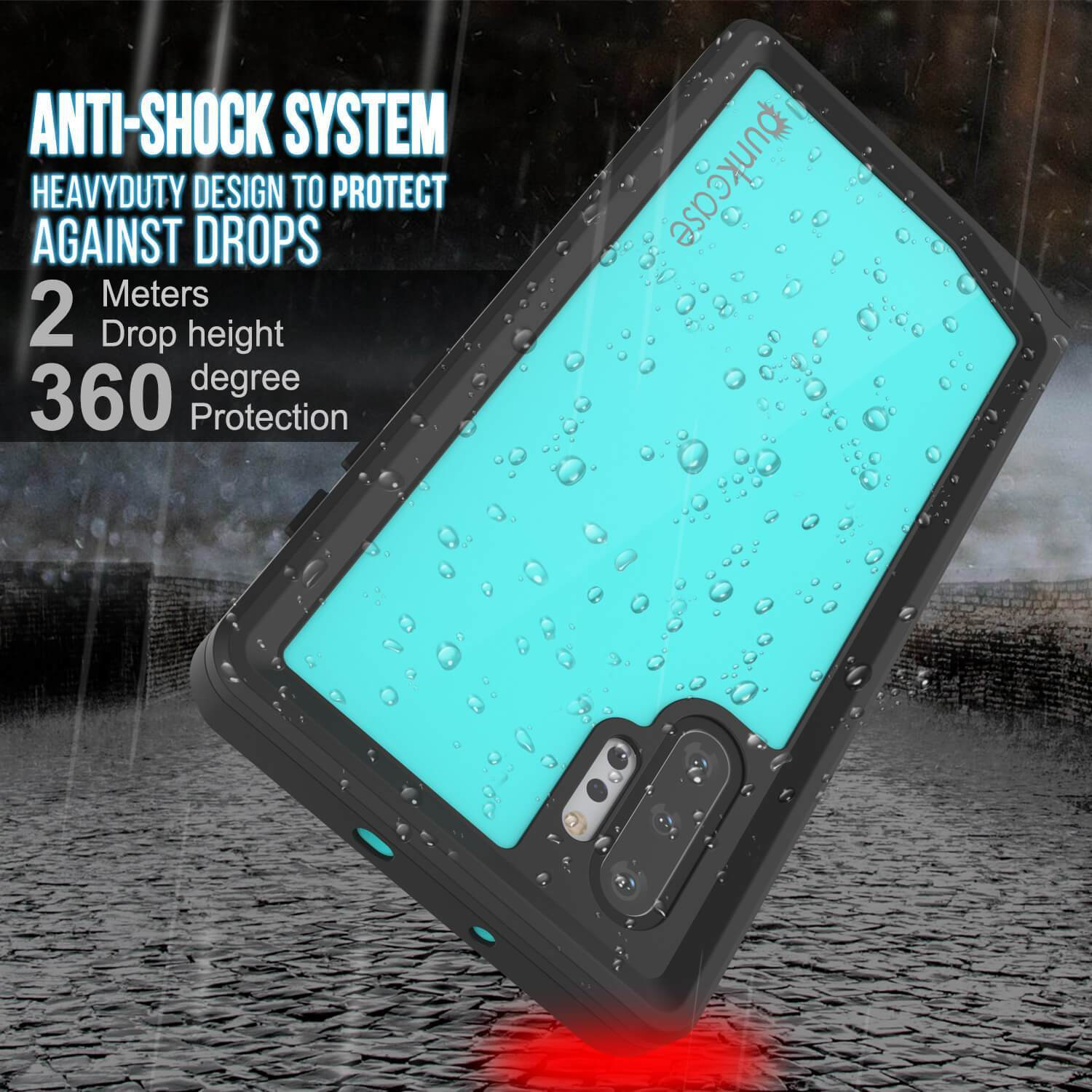 Galaxy Note 10+ Plus Waterproof Case, Punkcase Studstar Series Teal Thin Armor Cover