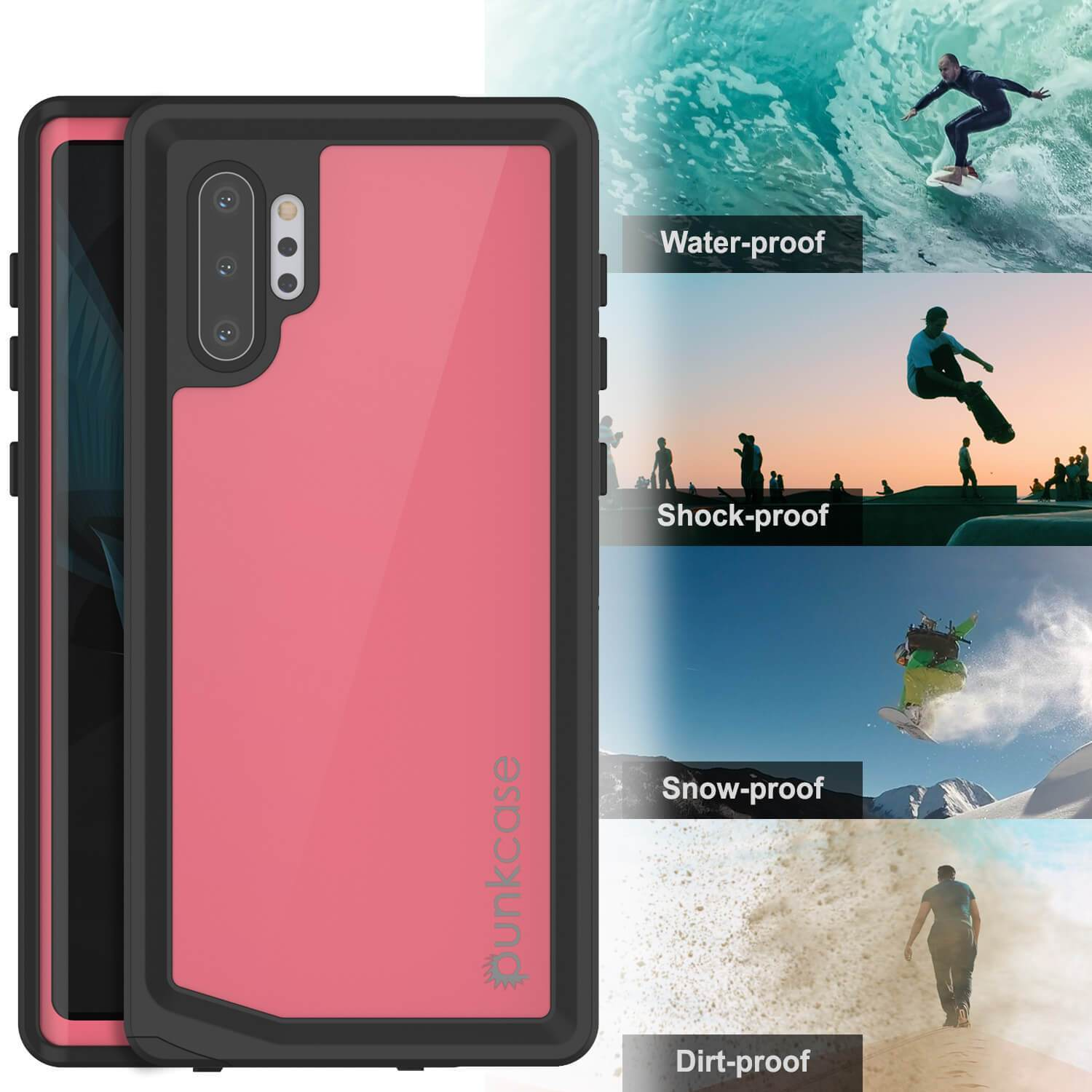 Galaxy Note 10+ Plus Waterproof Case, Punkcase Studstar Pink Thin Armor Cover