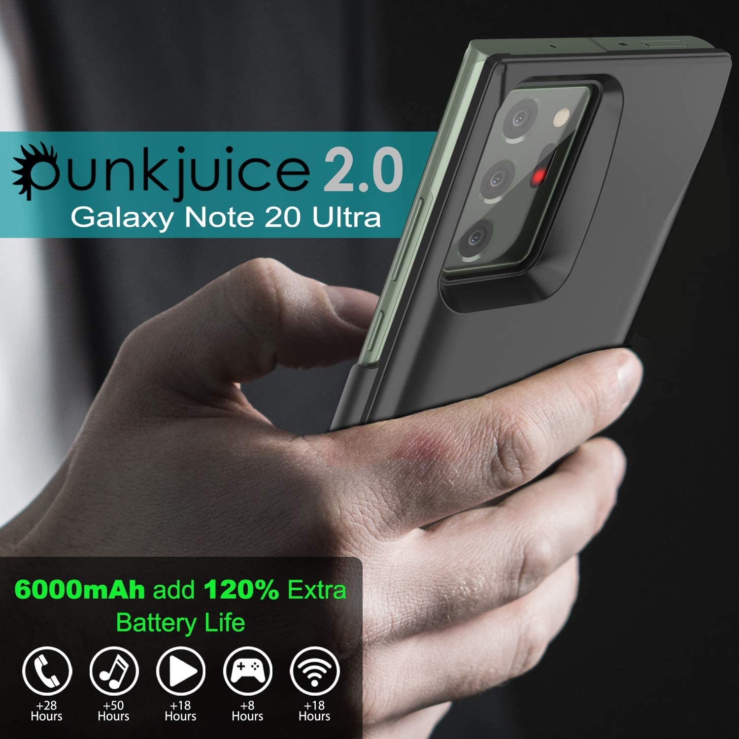 Galaxy Note 20 Ultra 6000mAH Battery Charger PunkJuice 2.0 Slim Case [Black]