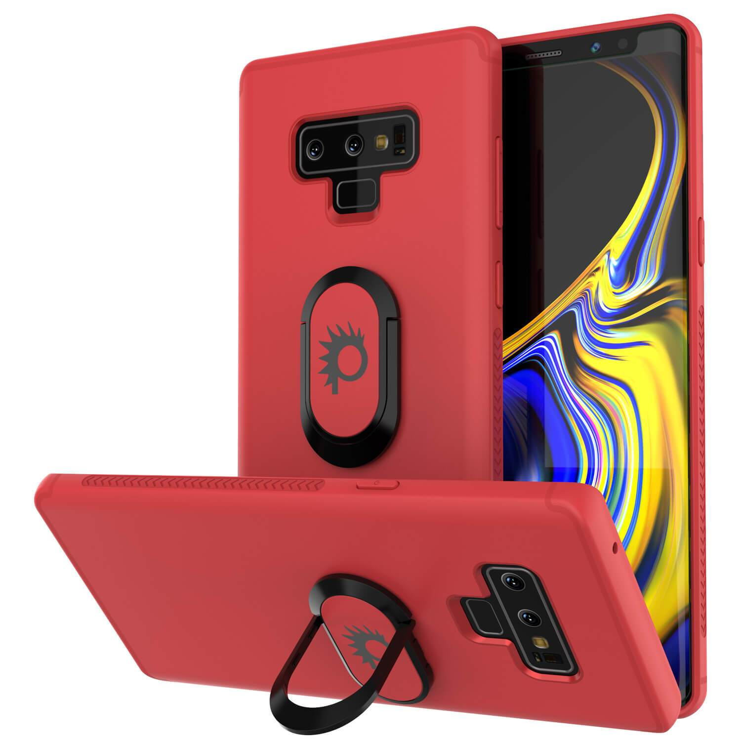 Galaxy Note 9 Case, Punkcase Magnetix  Protective TPU Cover W/ Tempered Glass Screen Protector & Kickstand [Red]