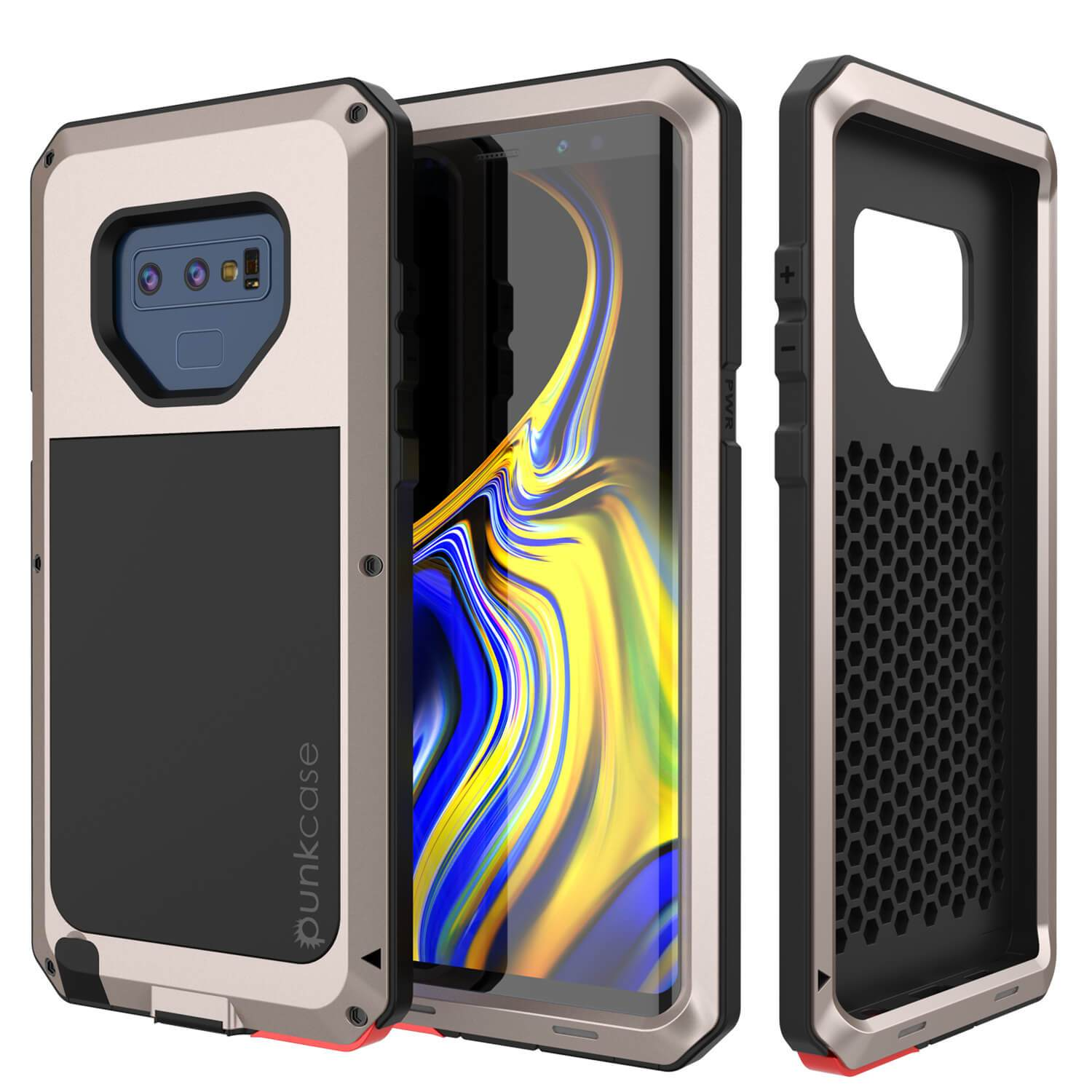 Galaxy Note 9  Case, PUNKcase Metallic Gold Shockproof  Slim Metal Armor Case [Gold]
