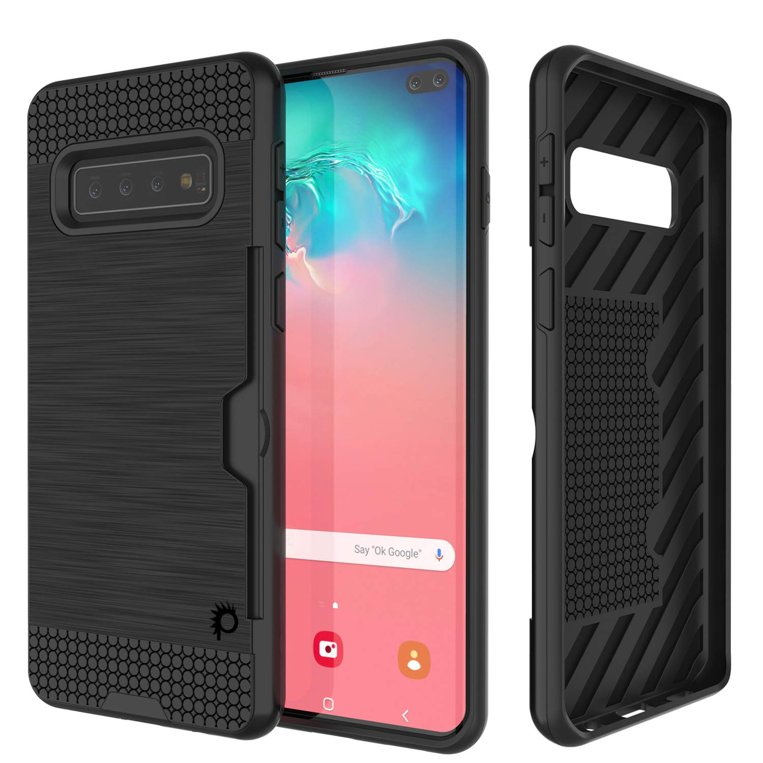 Galaxy S10+ Plus  Case, PUNKcase [SLOT Series] [Slim Fit] Dual-Layer Armor Cover w/Integrated Anti-Shock System, Credit Card Slot [Black]