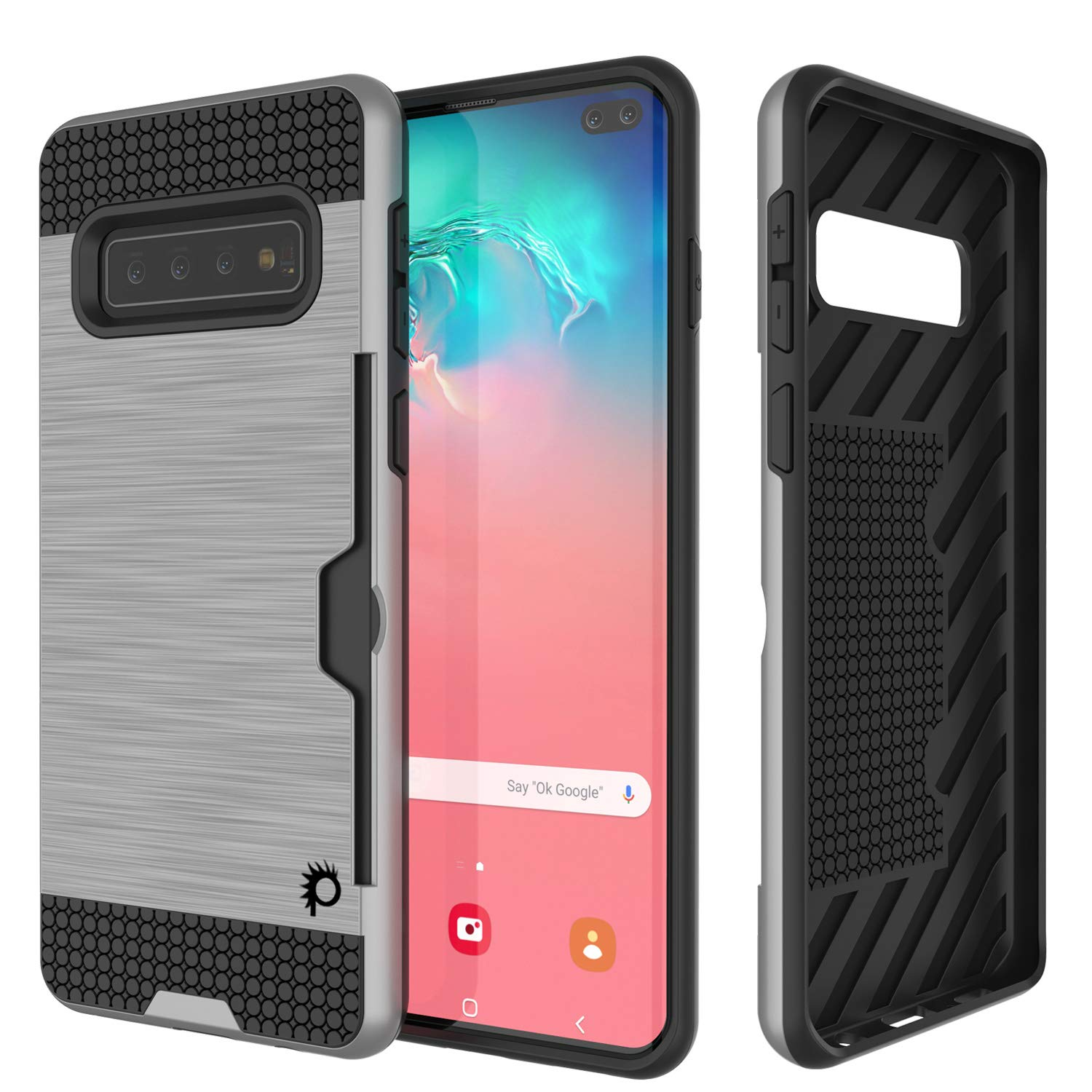 Galaxy S10+ Plus  Case, PUNKcase [SLOT Series] [Slim Fit] Dual-Layer Armor Cover w/Integrated Anti-Shock System, Credit Card Slot [Silver]
