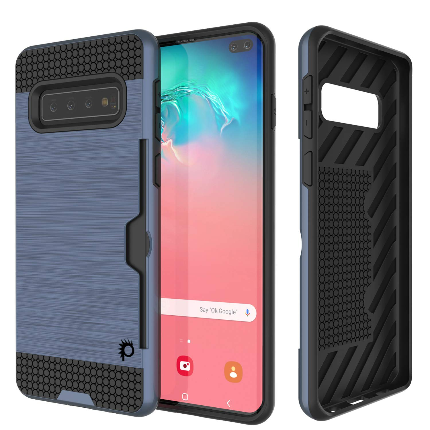 Galaxy S10+ Plus  Case, PUNKcase [SLOT Series] [Slim Fit] Dual-Layer Armor Cover w/Integrated Anti-Shock System, Credit Card Slot [Navy]