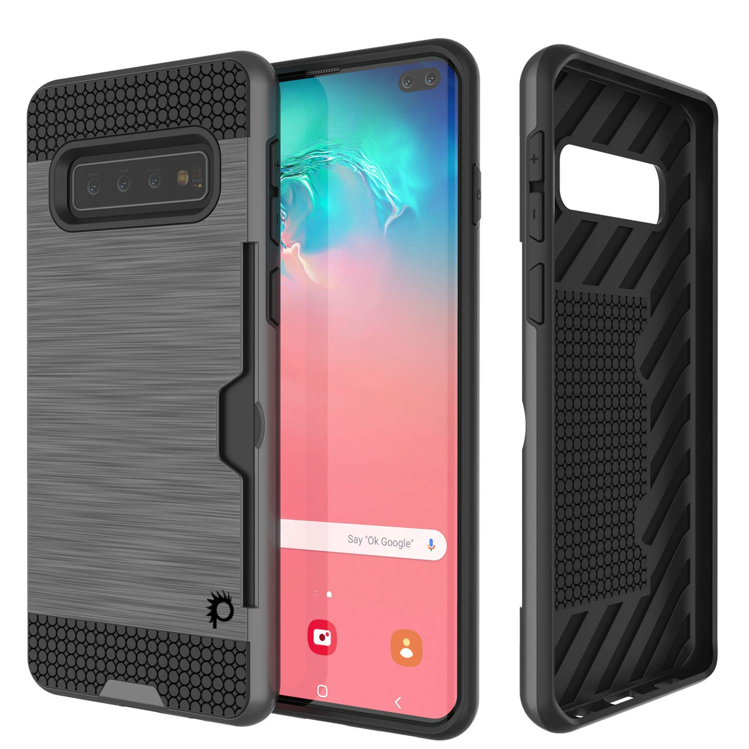 Galaxy S10+ Plus  Case, PUNKcase [SLOT Series] [Slim Fit] Dual-Layer Armor Cover w/Integrated Anti-Shock System, Credit Card Slot [Grey]