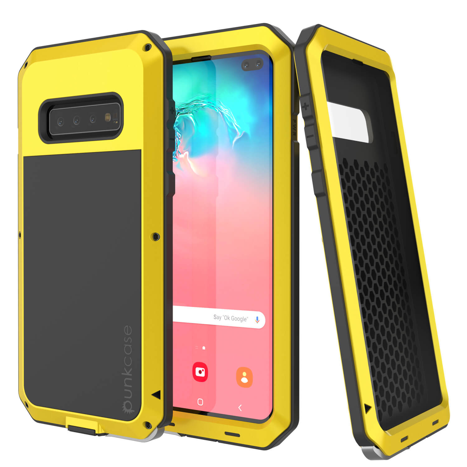 Galaxy S10+ Plus Metal Case, Heavy Duty Military Grade Rugged Armor Cover [Neon]