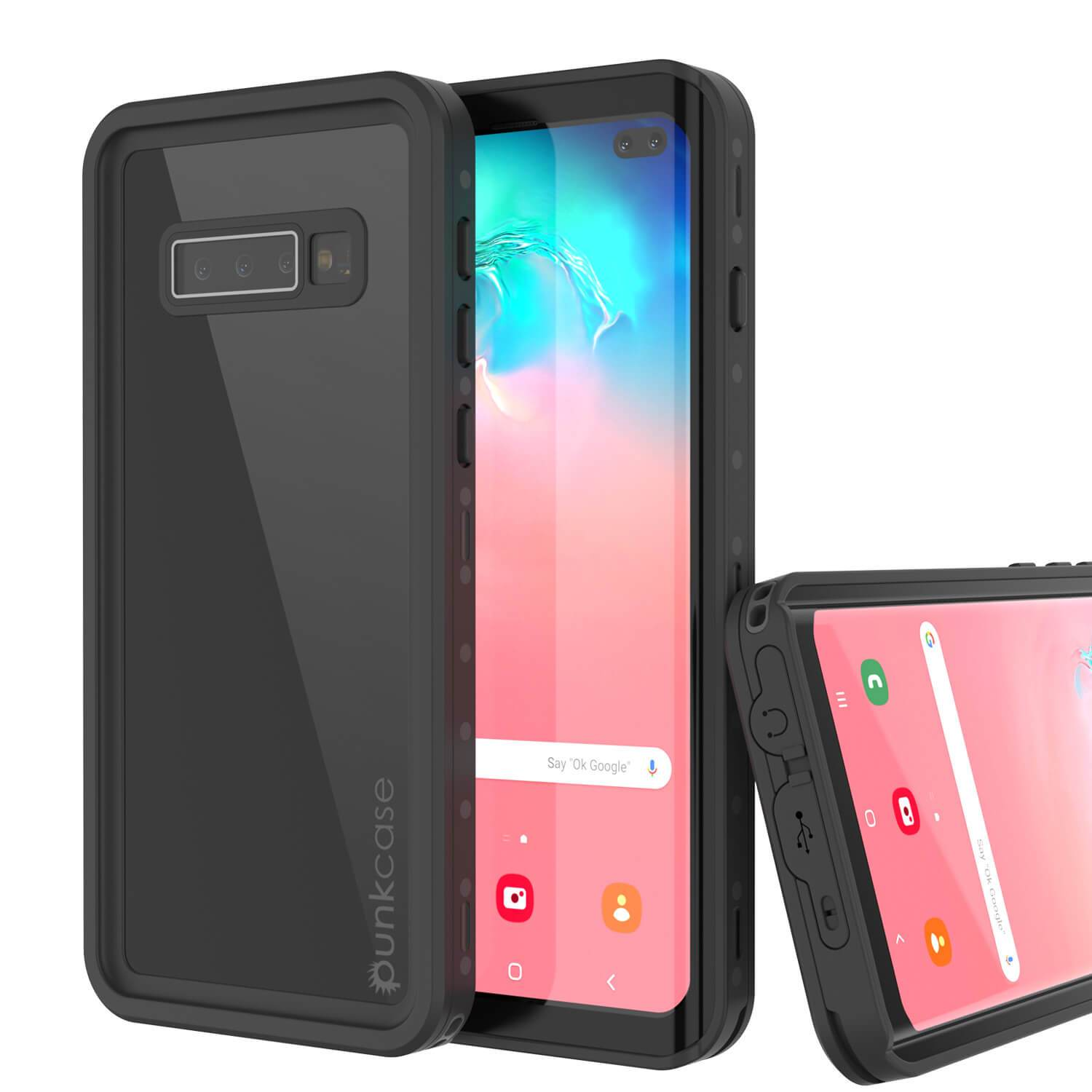 Galaxy S10+ Plus Waterproof Case PunkCase StudStar Black Thin 6.6ft Underwater IP68 Shock/Snow Proof