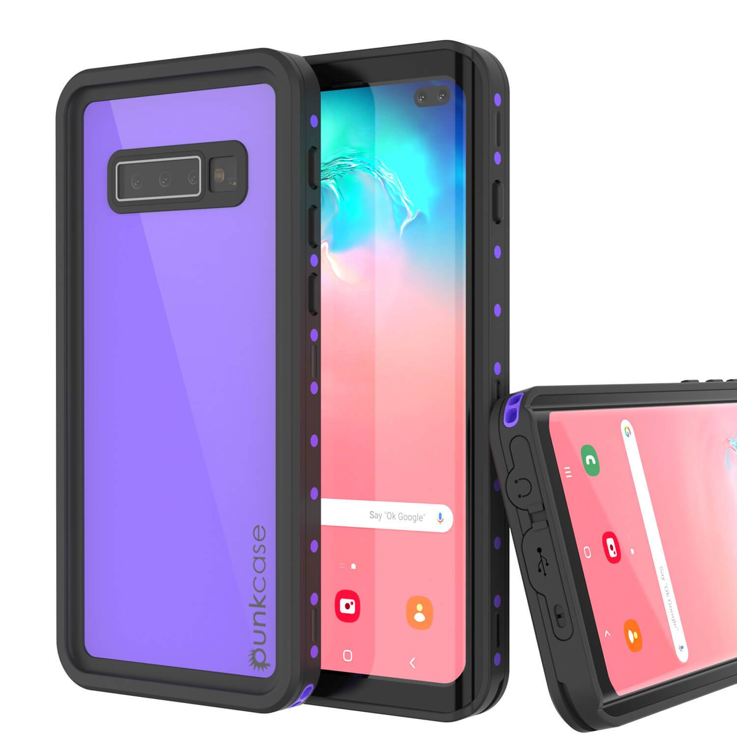 Galaxy S10+ Plus Waterproof Case PunkCase StudStar Purple Thin 6.6ft Underwater IP68 Shock/Snow Proof