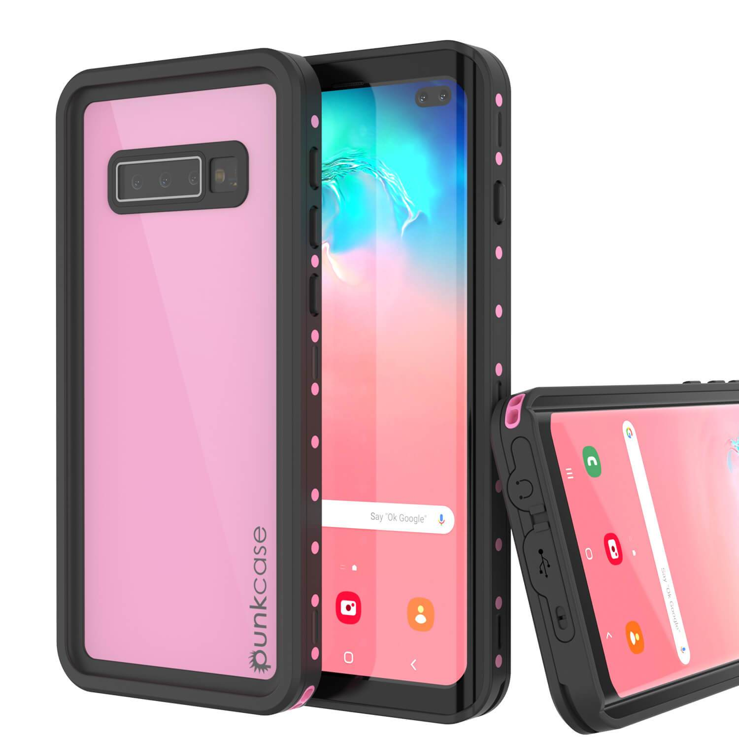 Galaxy S10+ Plus Waterproof Case PunkCase StudStar Pink Thin 6.6ft Underwater IP68 Shock/Snow Proof