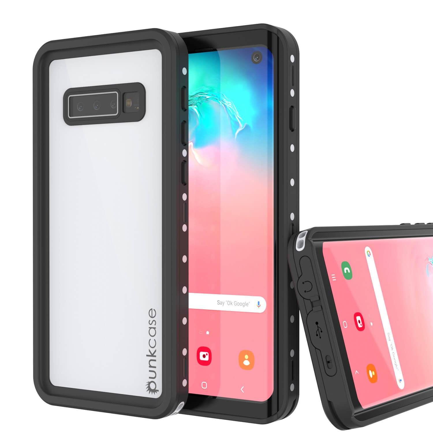 Galaxy S10 Waterproof Case, Punkcase StudStar White Thin 6.6ft Underwater IP68 Shock/Snow Proof