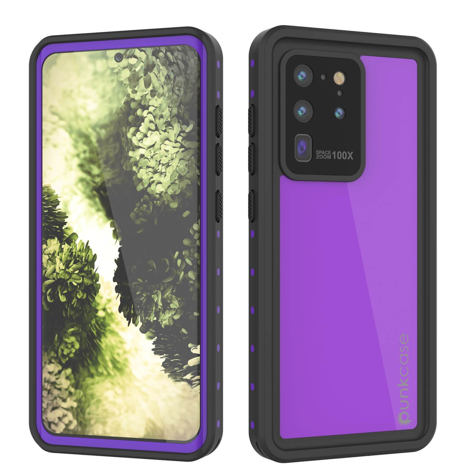 Galaxy S20 Ultra Waterproof Case PunkCase StudStar Purple Thin 6.6ft Underwater IP68 Shock/Snow Proof