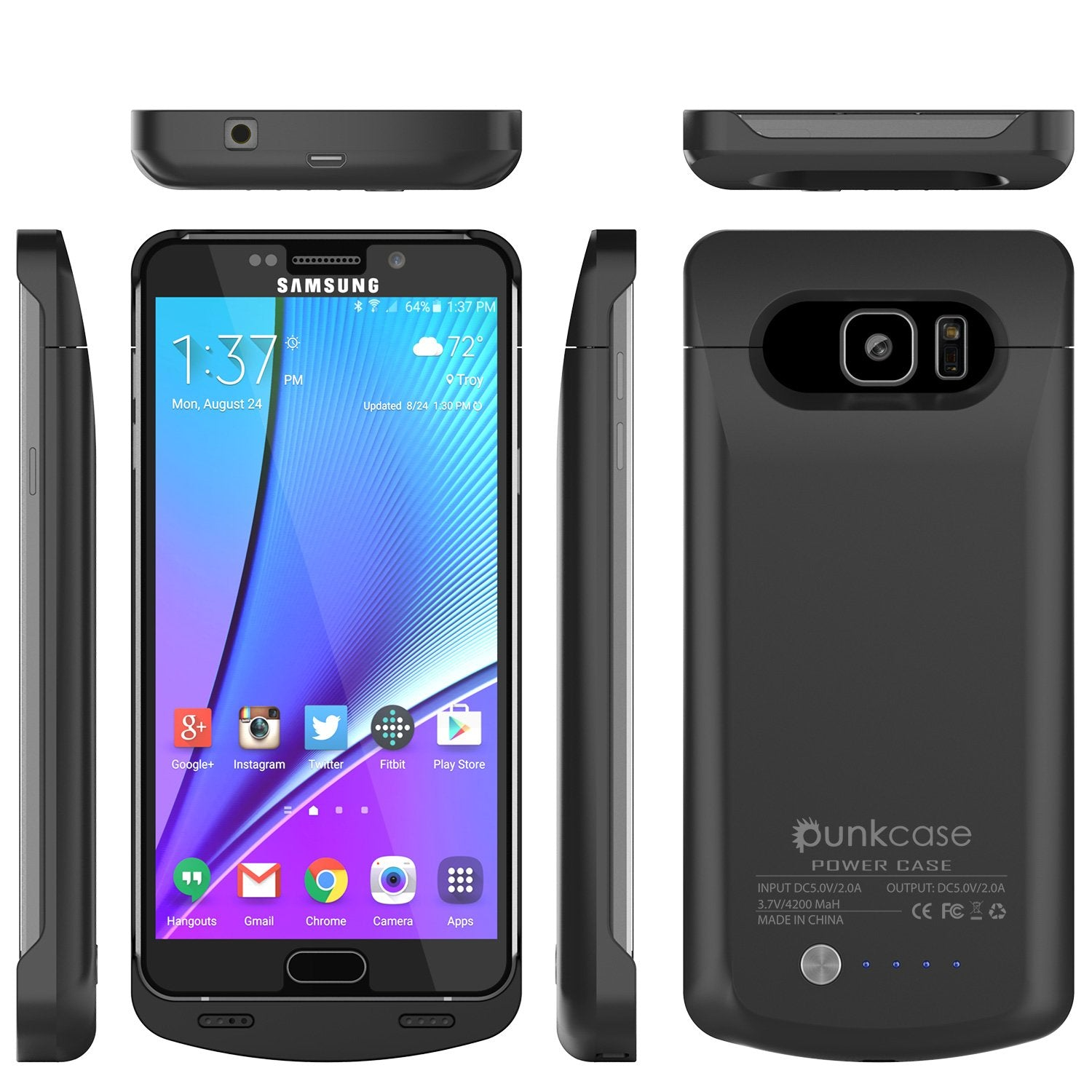 Galaxy Note 8 Battery PunkCase, 5000mAH Charger Case W/USB port, Black