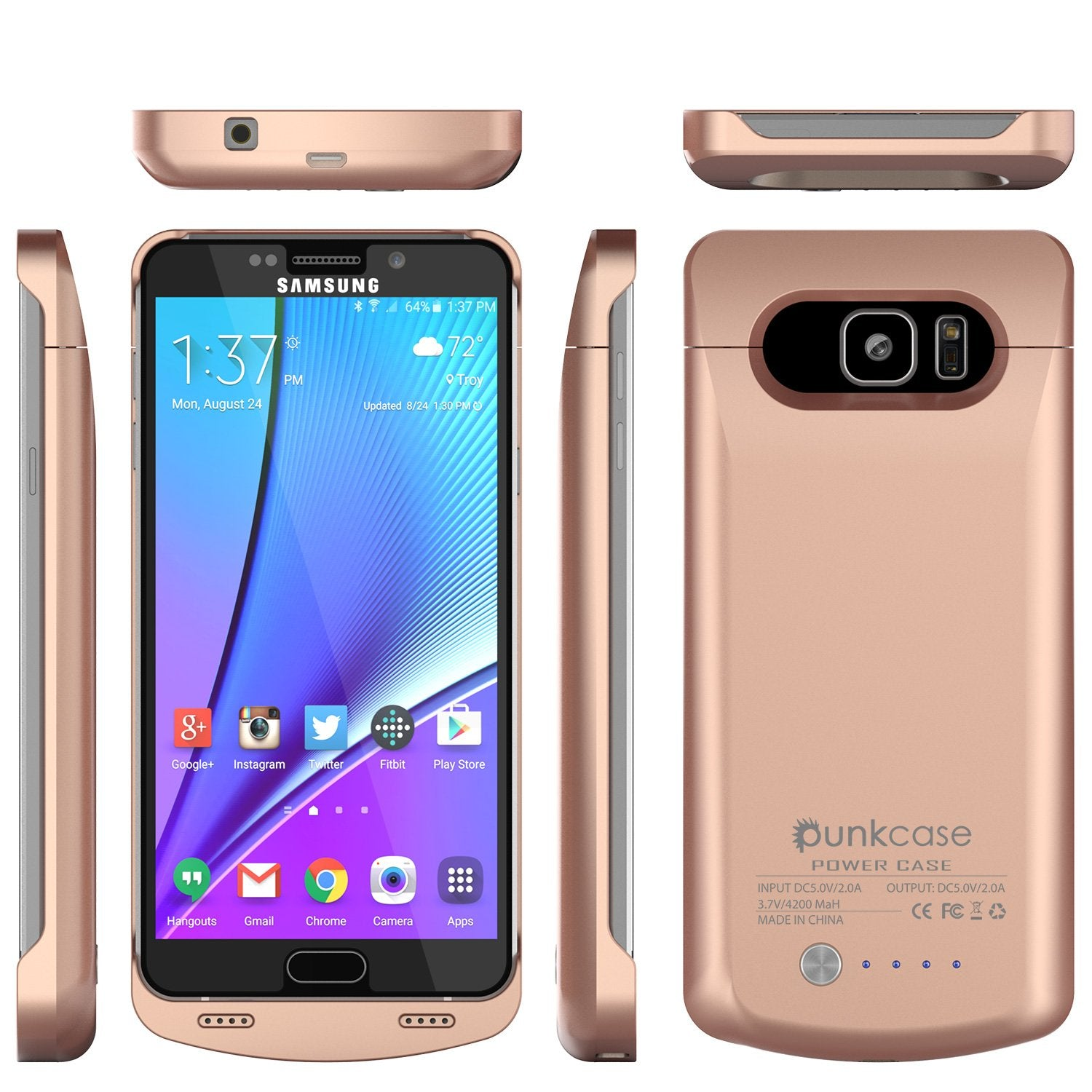 online store 0ffdb 9d90b Galaxy Note 5 Battery Case, Punkcase 5000mAH Charger Rose Gold Case