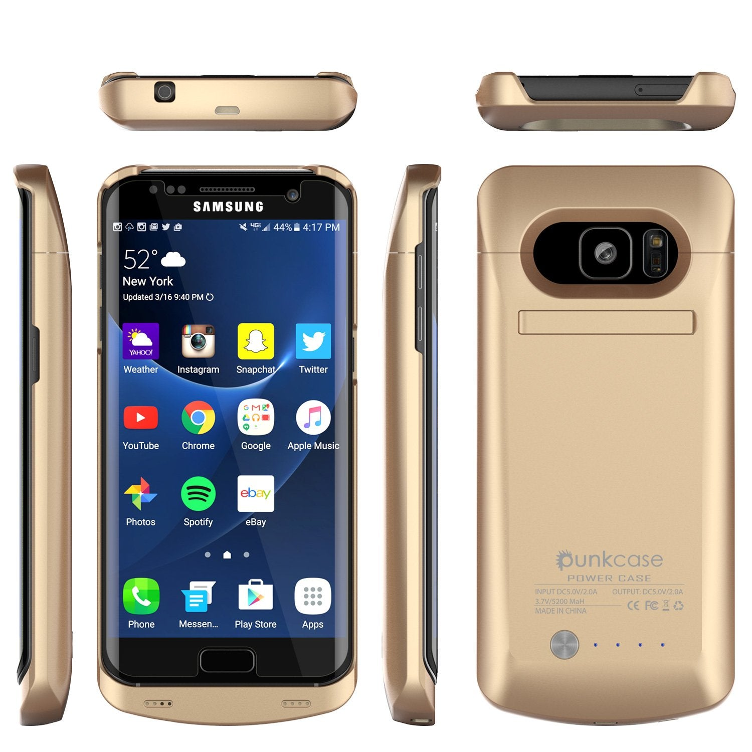premium selection 62e10 375dc Galaxy S7 EDGE Battery Case, Punkcase 5200mAH Charger Gold Case