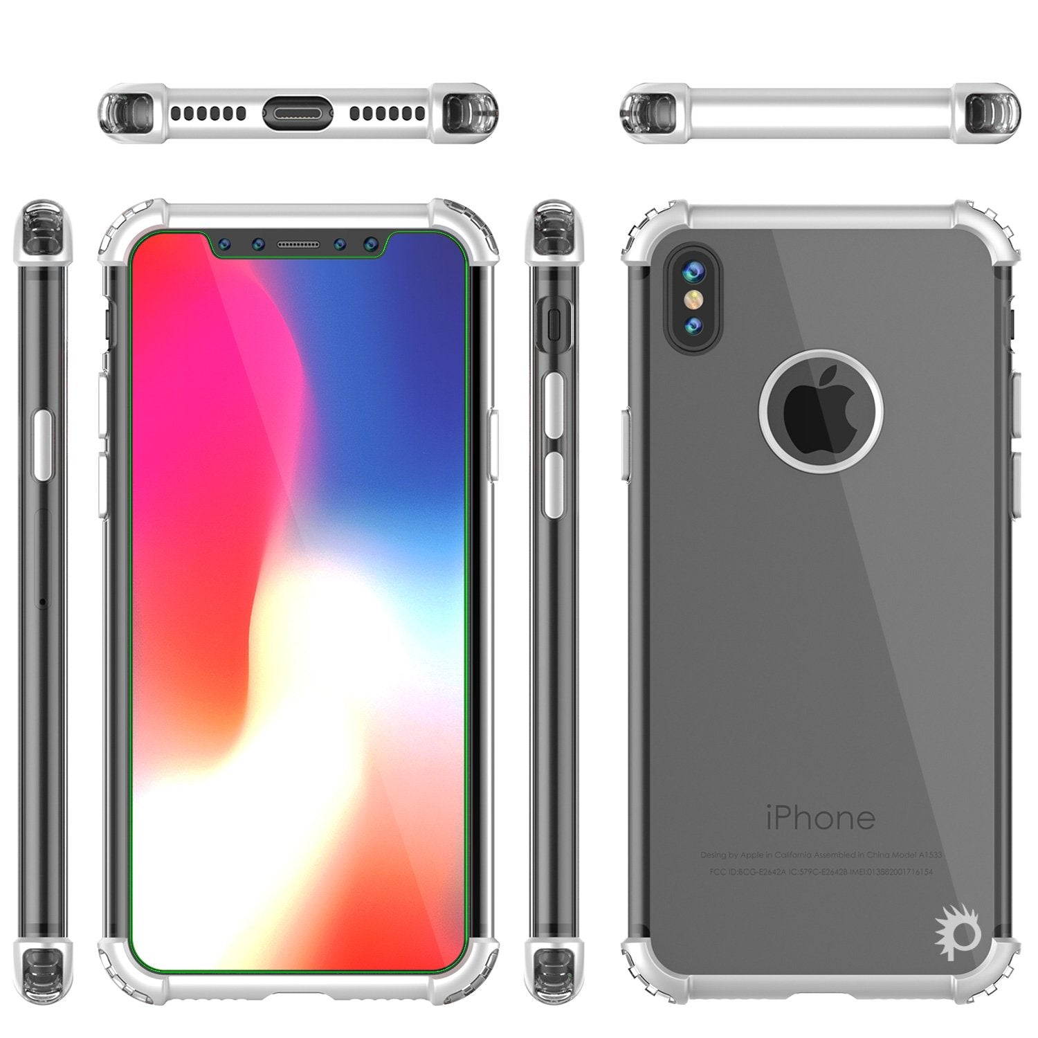 iPhone X Punkcase [BLAZE SERIES] Cover W/ Screen Protector [Silver]