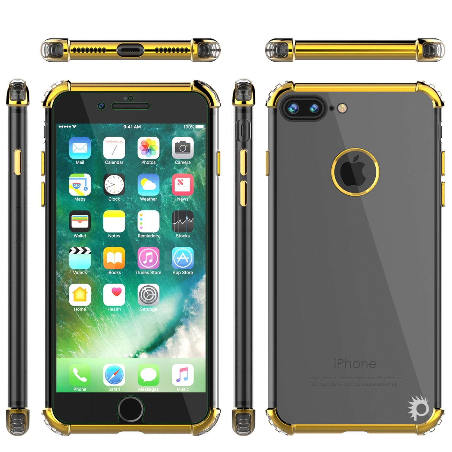 iPhone 8 PLUS Case, Punkcase [BLAZE SERIES] Protective Cover W/ PunkShield Screen Protector [Shockproof] [Slim Fit] for Apple iPhone 7/8/6/6s PLUS [Gold]