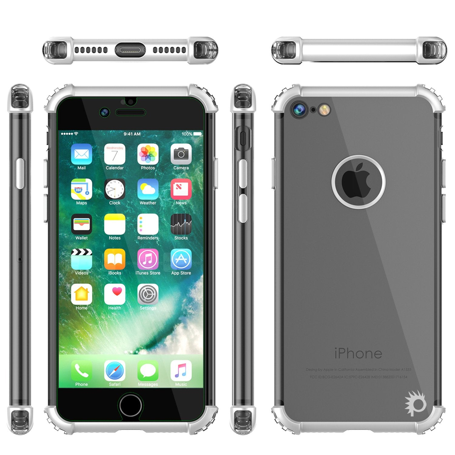 iPhone 7 Case, Punkcase [BLAZE SERIES] Protective Cover W/ PunkShield Screen Protector [Shockproof] [Slim Fit] for Apple iPhone [Silver]