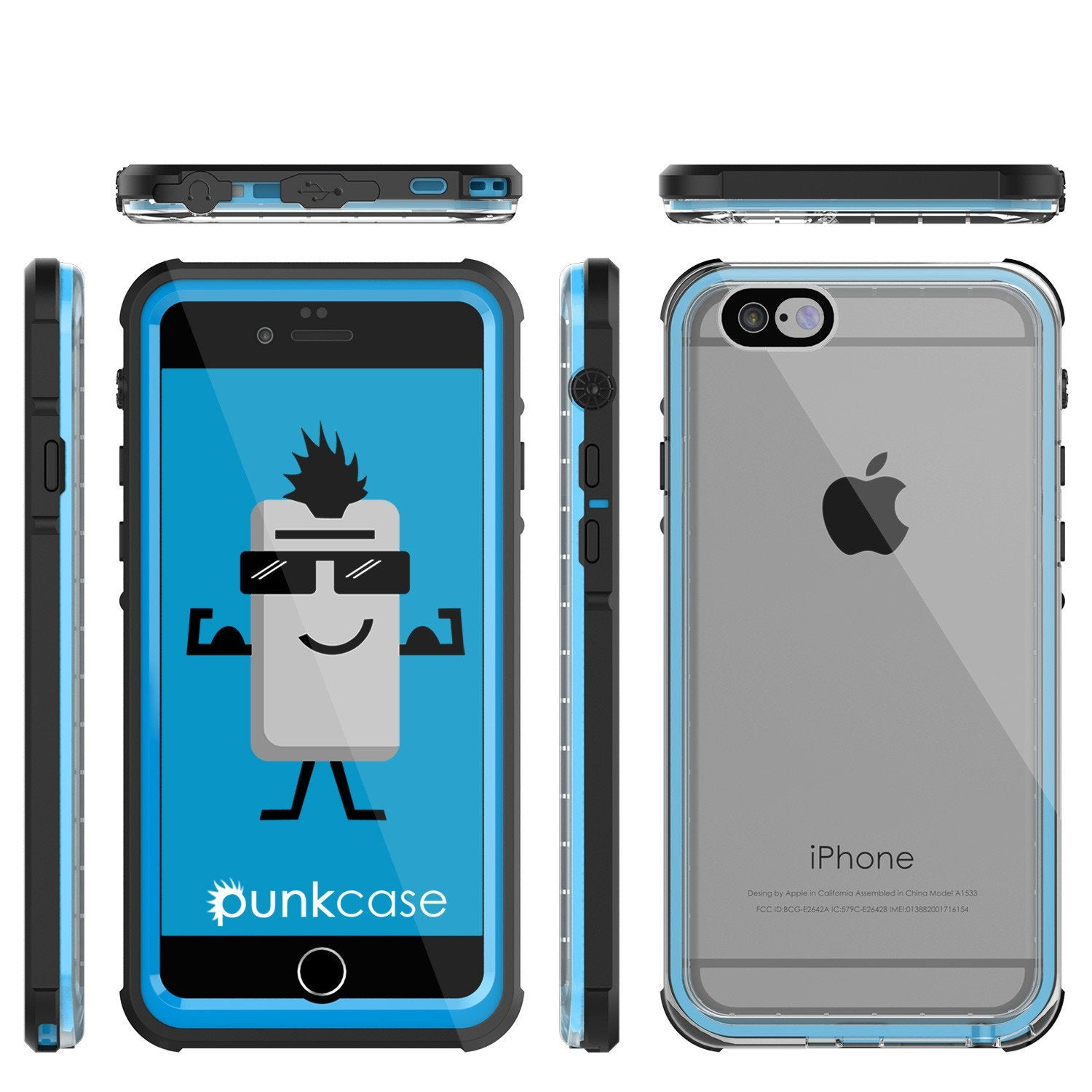 iPhone 6+/6S+ Plus  Waterproof Case, PUNKcase CRYSTAL Light Blue  W/ Attached Screen Protector