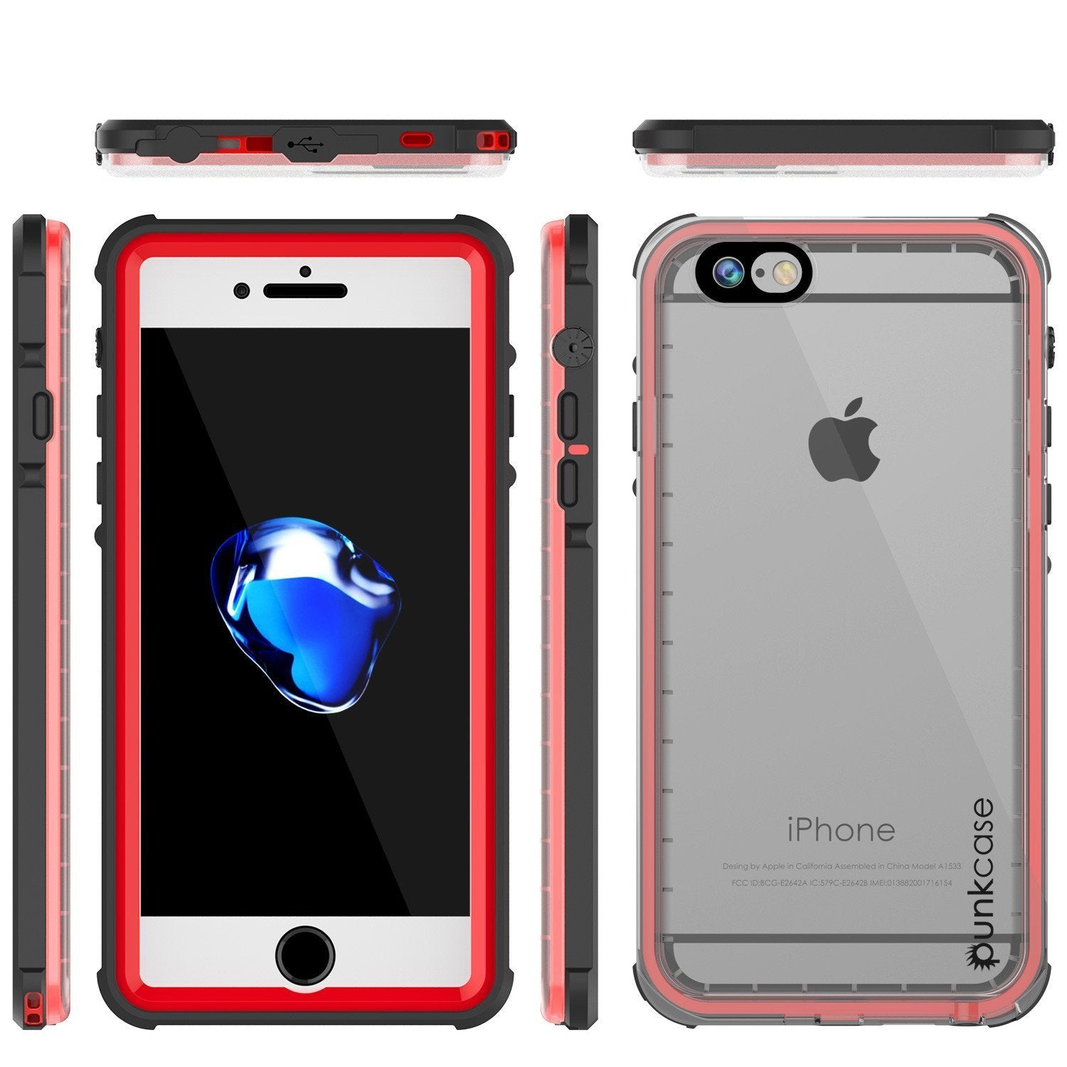 Apple iPhone 8 Waterproof Case, PUNKcase CRYSTAL Red W/ Attached Screen Protector  | Warranty