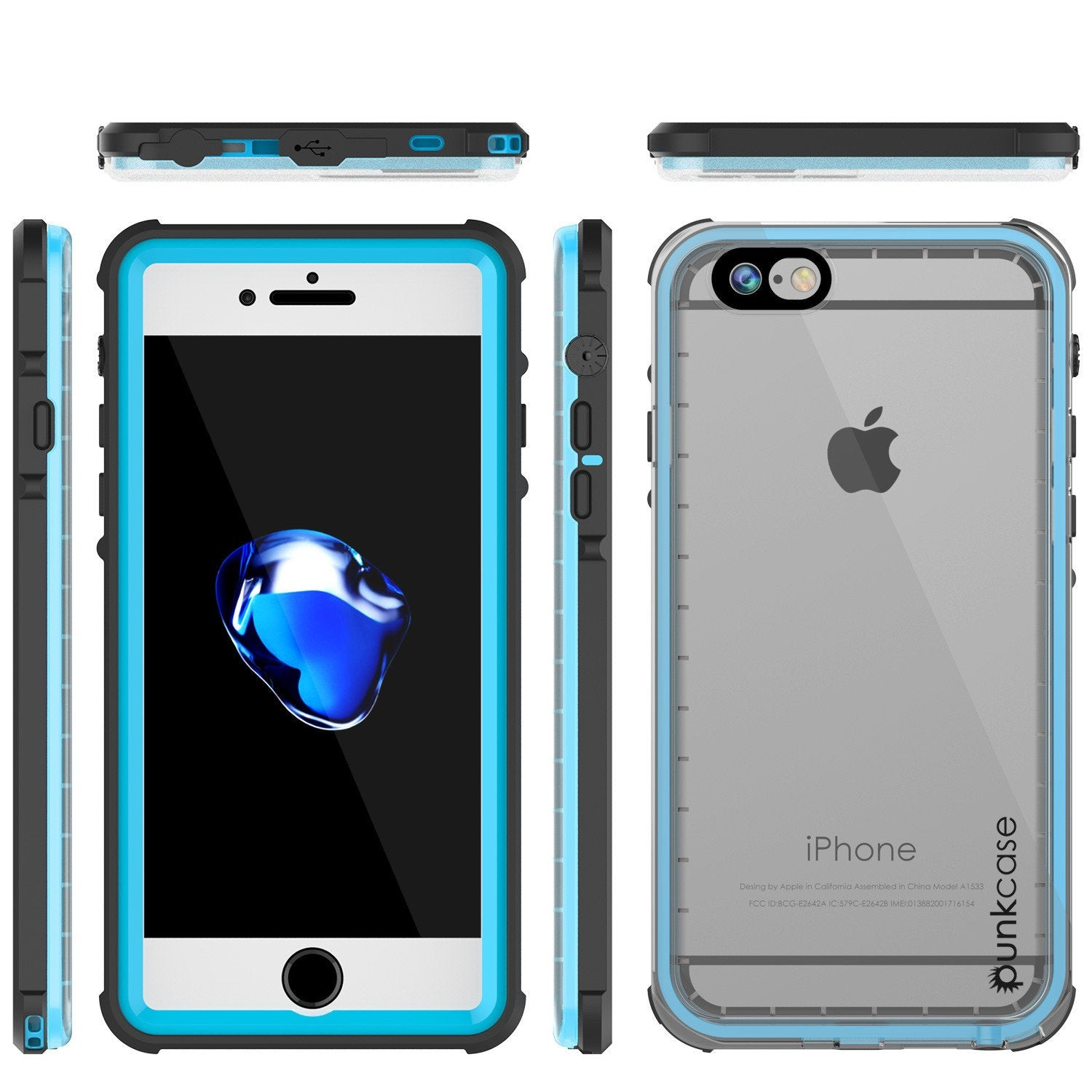 Apple iPhone 7 Waterproof Case, PUNKcase CRYSTAL Light Blue  W/ Attached Screen Protector  | Warranty