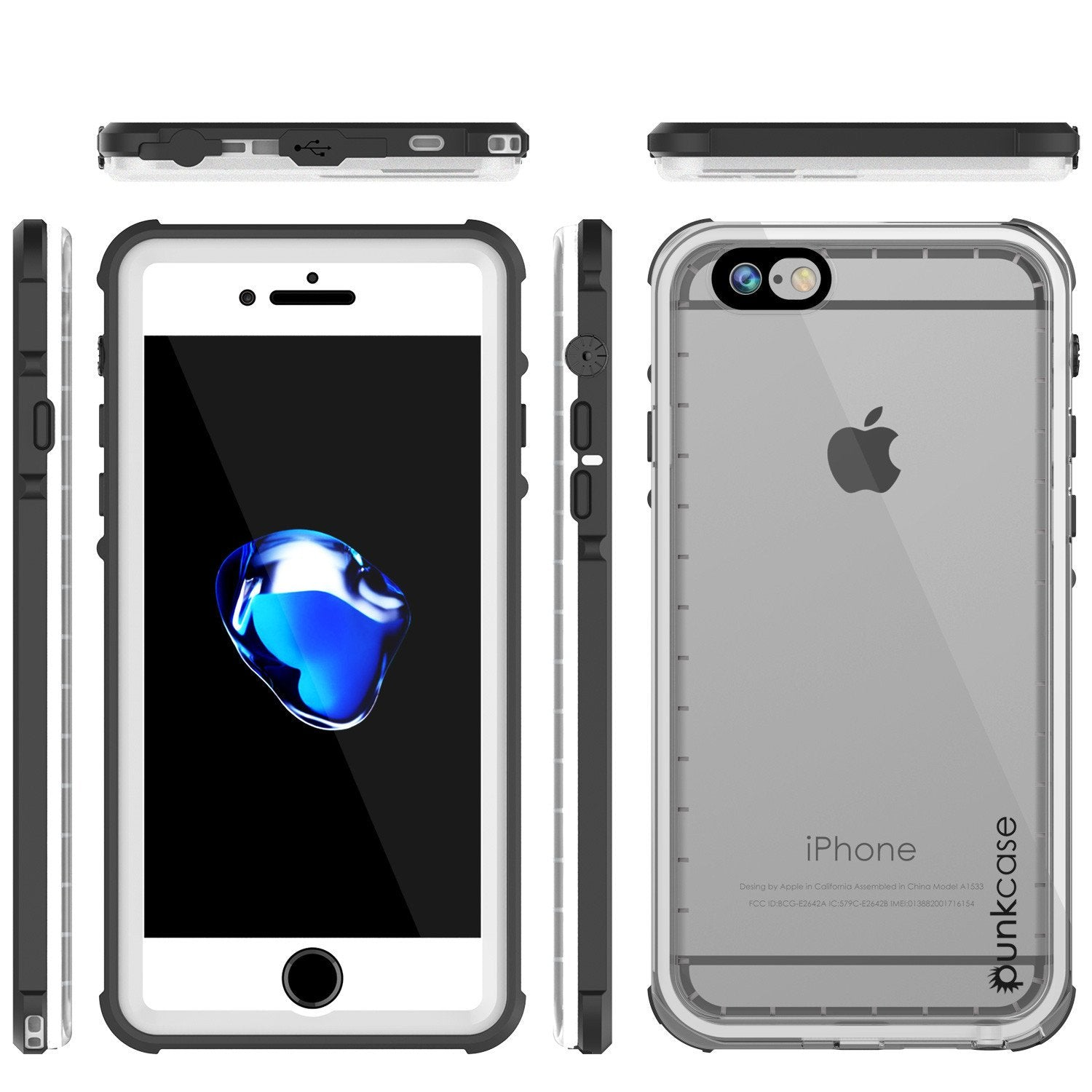 Apple iPhone 7 Waterproof Case, PUNKcase CRYSTAL White W/ Attached Screen Protector  | Warranty