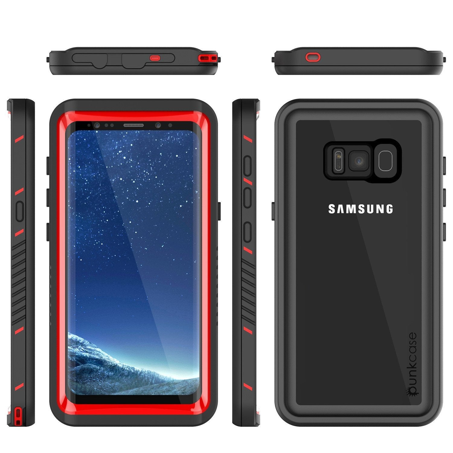 Galaxy S8 Punkcase [Extreme Series] Slim Fit Armor Cover [Red]