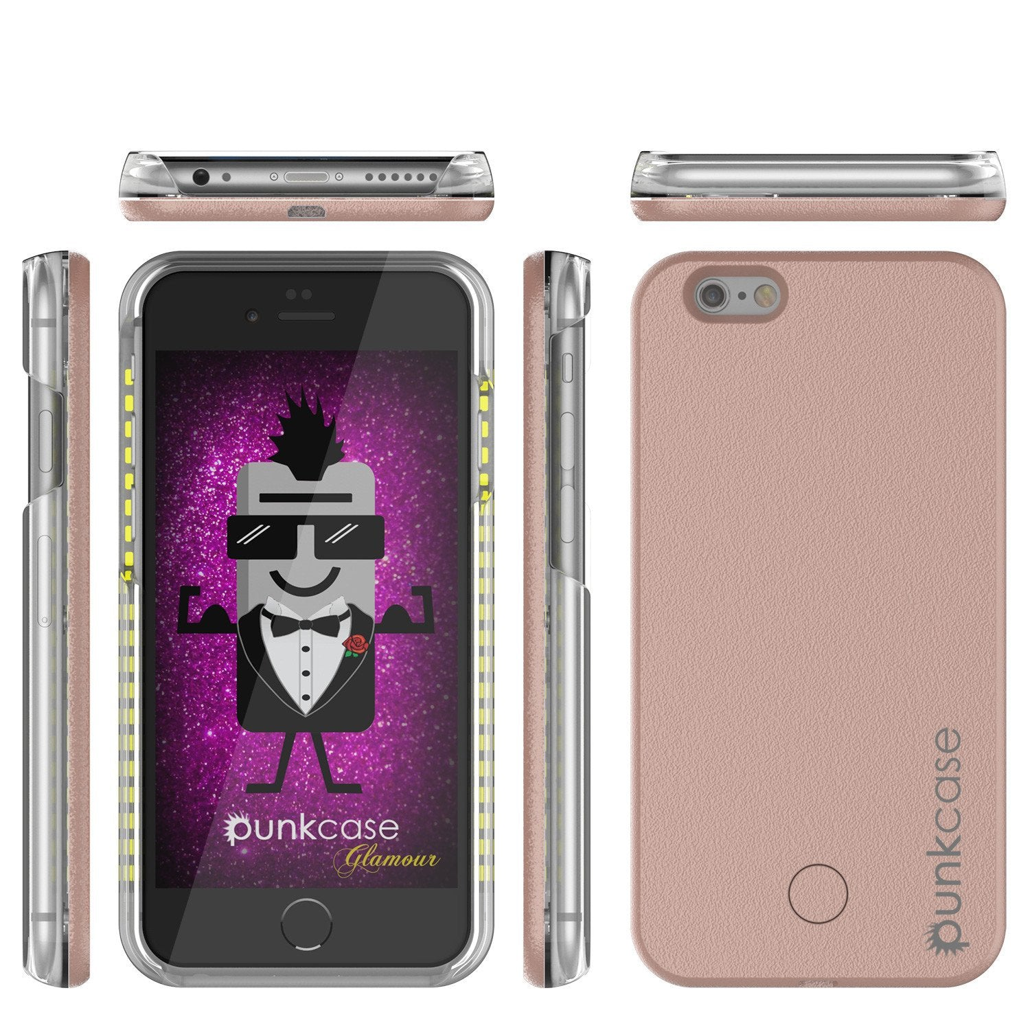 iPhone 6/6S Punkcase LED Light Case Light Illuminated Case, ROSE GOLD W/  Battery Power Bank