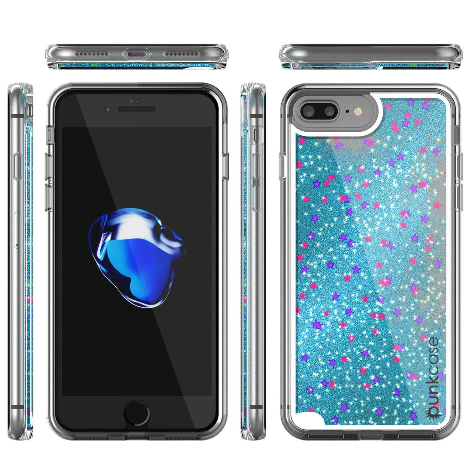 iPhone 7 Plus Case, Punkcase [Liquid Teal Series] Protective Dual Layer Floating Glitter Cover with lots of Bling & Sparkle + 0.3mm Tempered Glass Screen Protector for Apple iPhone 7s Plus