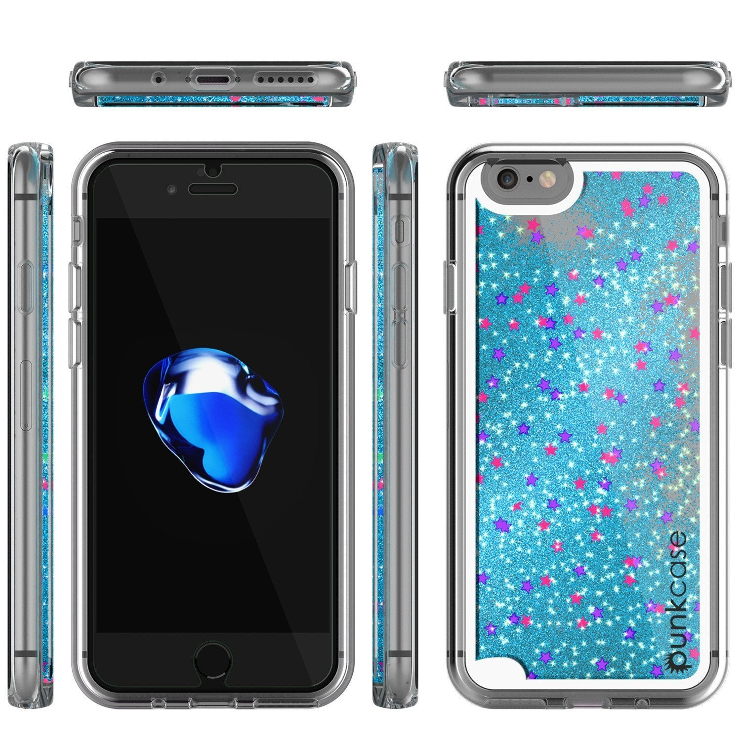 iPhone 8 Case, PunkCase Liquid Teal, Floating Glitter Cover Series