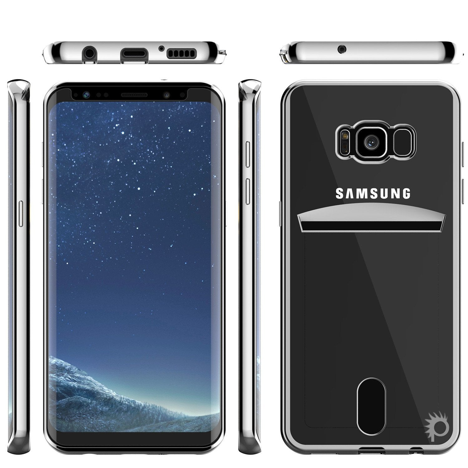 Galaxy S8 Case, PUNKCASE LUCID Silver Series Armor Case Cover