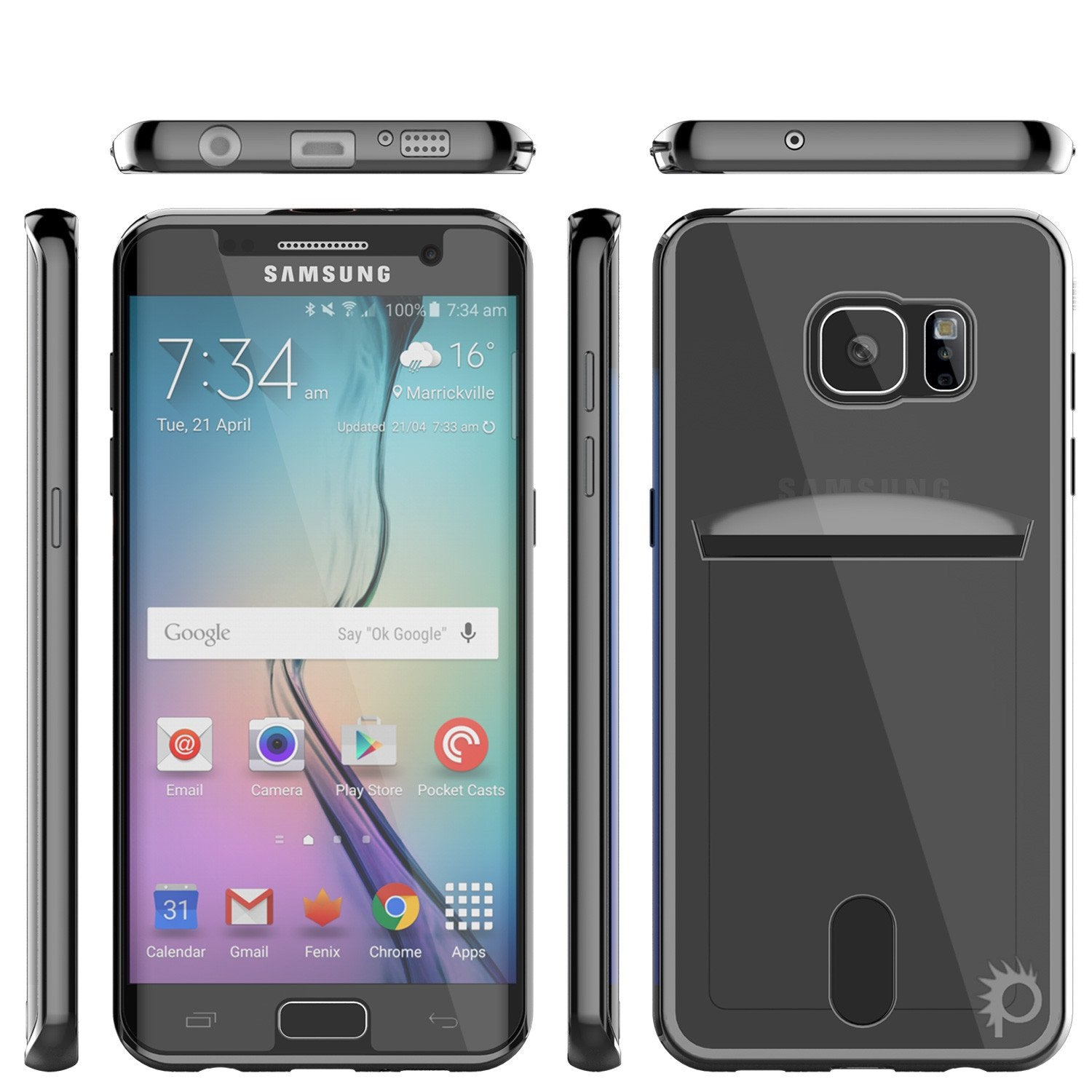 Galaxy S6 Case, PUNKCASE® LUCID Black Series | Card Slot