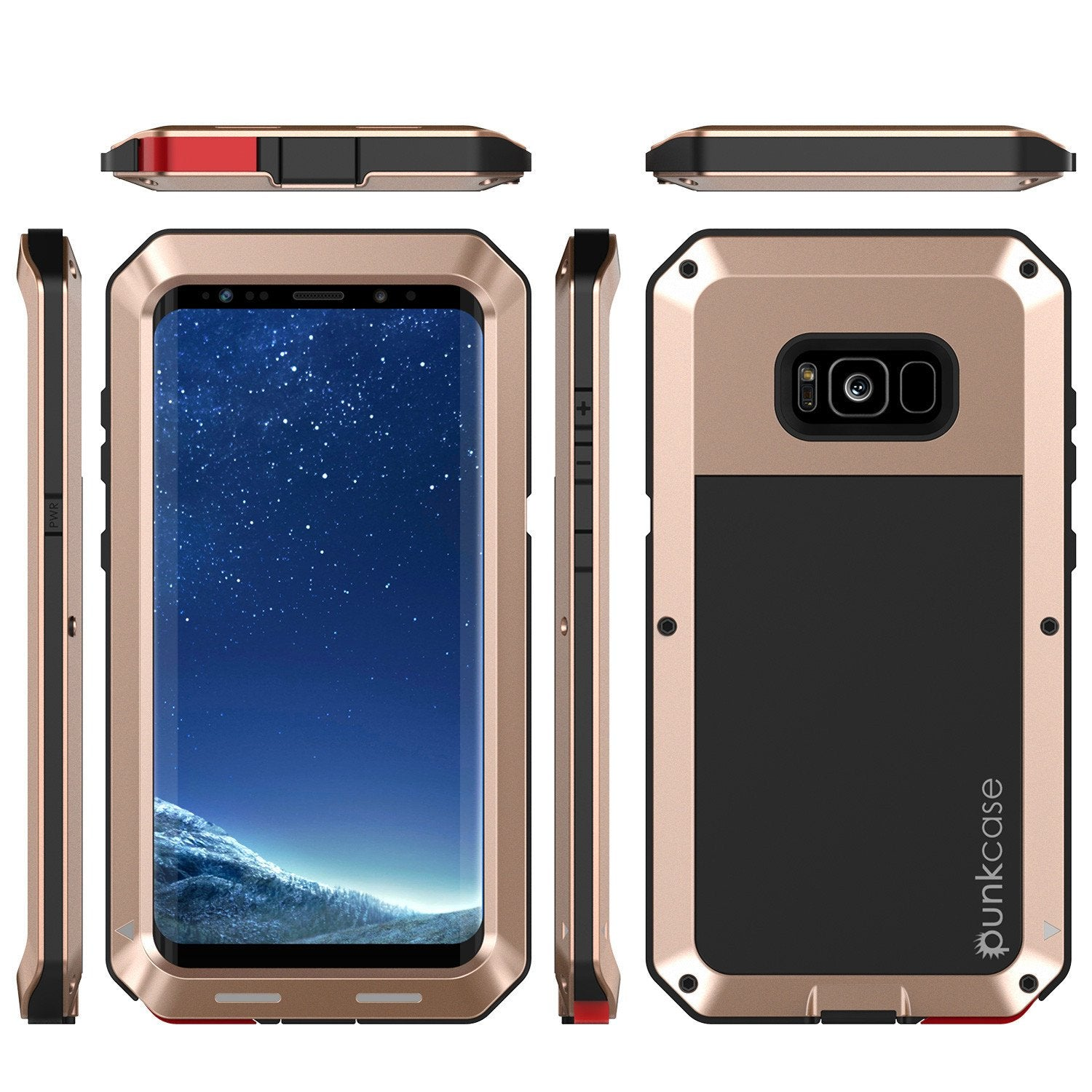 Galaxy S8 Plus Metal PunkCase, Heavy Duty Militar Armor Cover, Gold