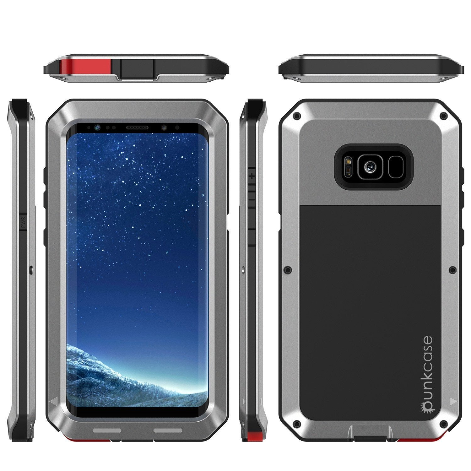 Galaxy Note 8  Case, Punkcase Metallic Silver W/ Tempered Glass Screen
